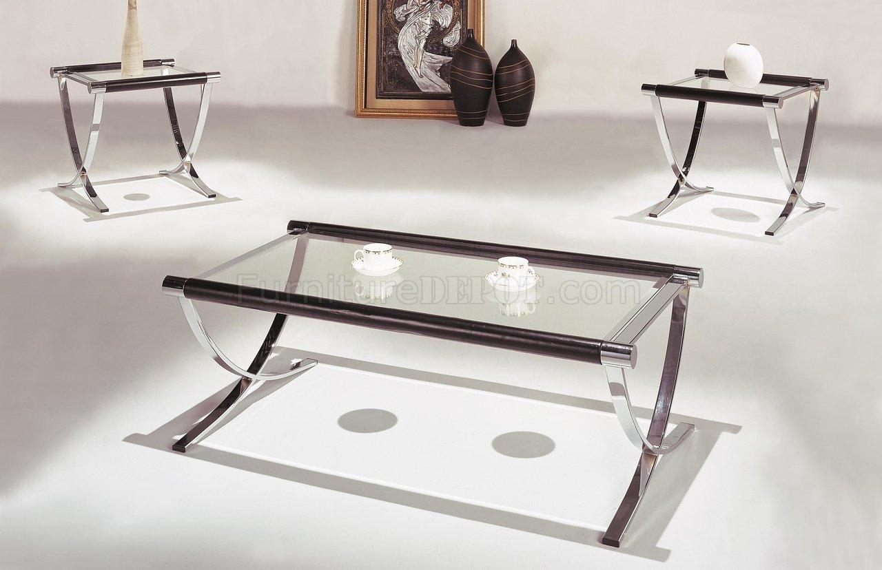 Set Of Glass Top Contemporary Coffee & End Tables W/chrome Legs For Chrome Sofa Tables (Image 16 of 20)
