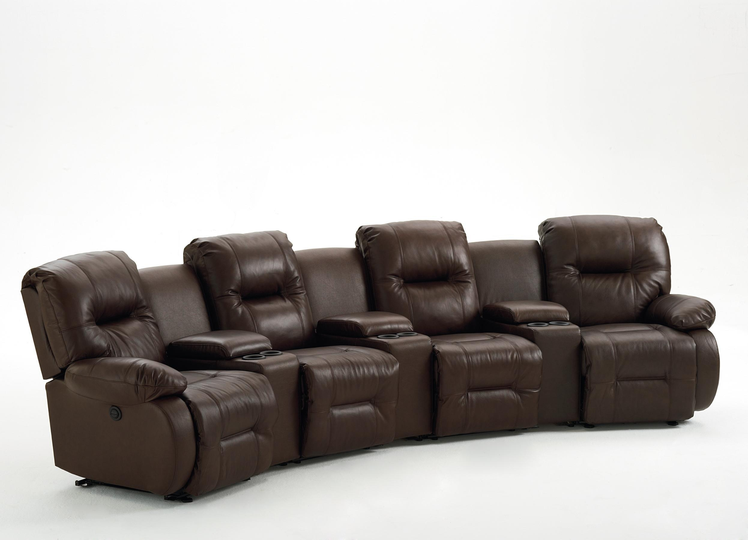 Seven Piece Power Reclining Home Theater Group With Three Drink For Sofas With Drink Holder (View 8 of 20)