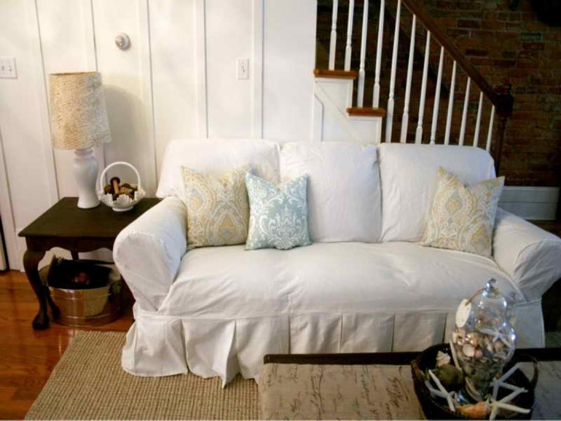 Shabby Chic Dining, Shabby Chic Sofa Slipcovers White Sofa Regarding Shabby Slipcovers (Image 12 of 20)