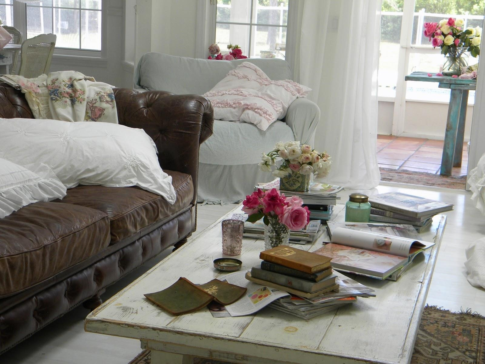 Shabby Chic Living Room Brown Sofa In Leather – Carameloffers Throughout Shabby Chic Sectional Sofas Couches (View 7 of 21)