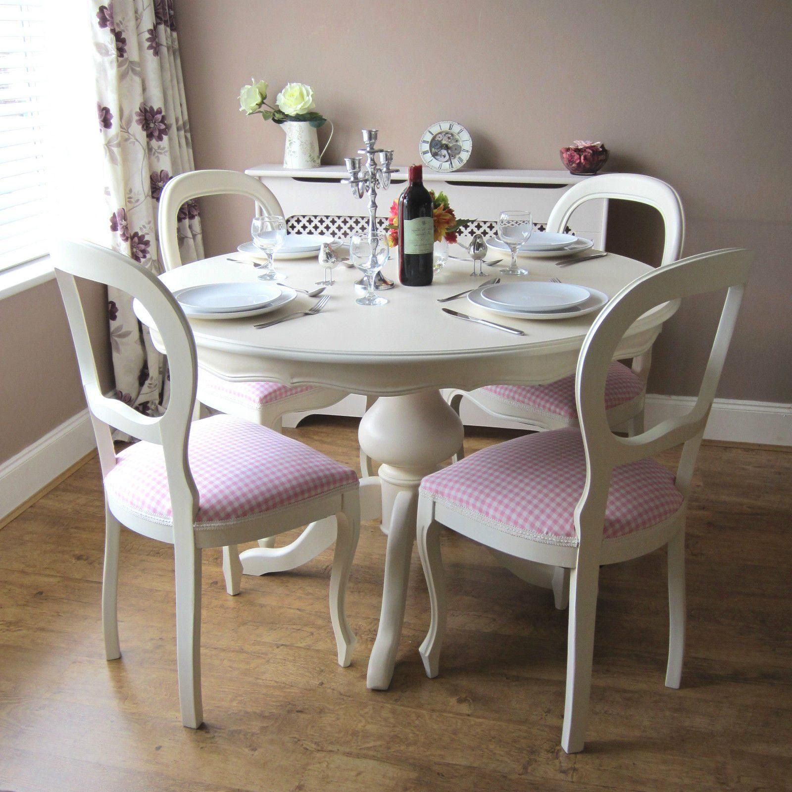 Shabby Chic Round Dining Table Brown Dresser Grey Marble Table For Dining Table With Sofa Chairs (View 13 of 20)