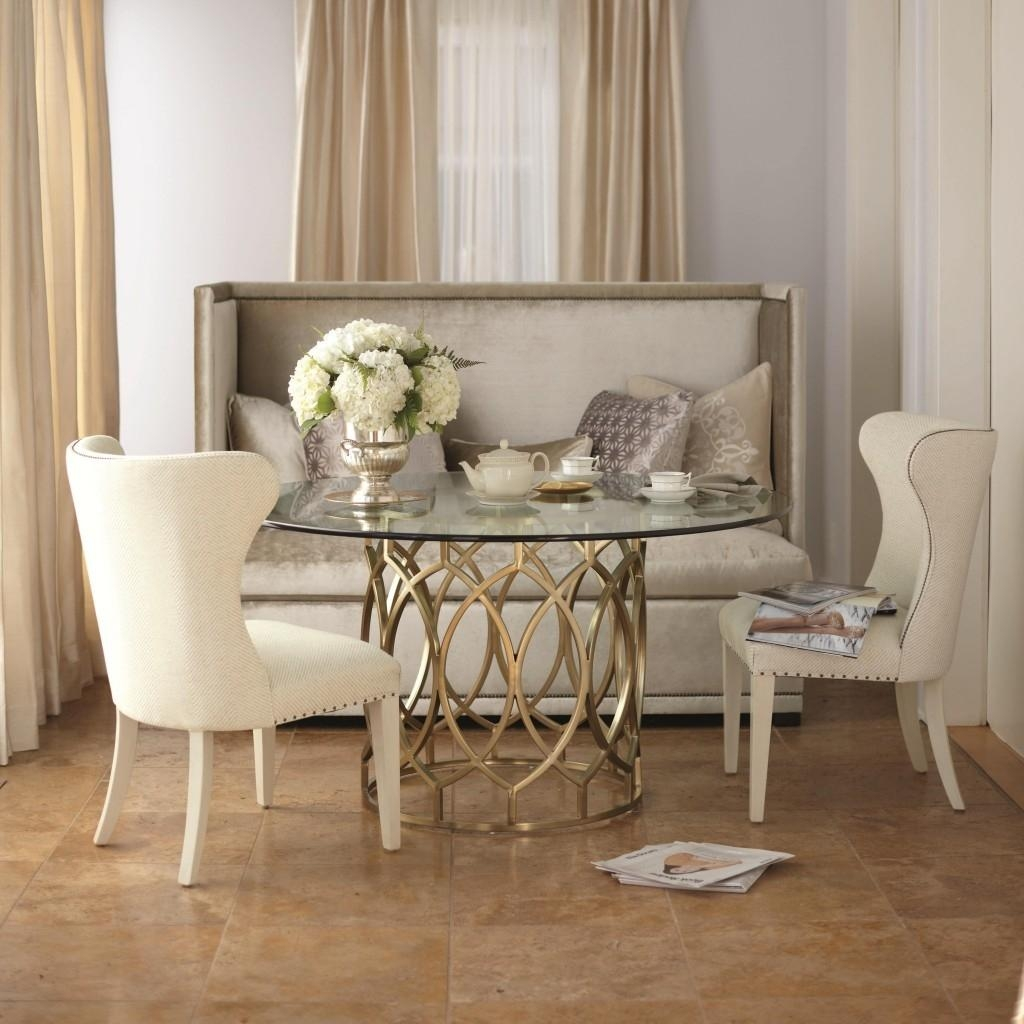 Shabby White Fabric Dining Room Bench With Back Connectedround Inside Dining Room Bench Sofas (Image 17 of 20)