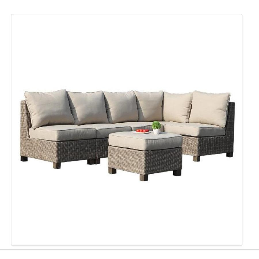 Shop Allen + Roth Sea Palms 6 Piece Warm Gray Wicker Sectional Throughout Conversation Sectional (View 4 of 15)