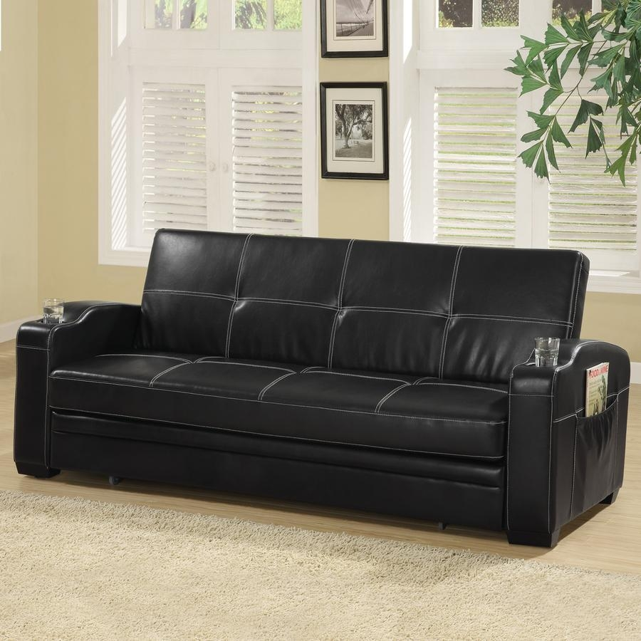 Shop Coaster Fine Furniture Black Vinyl Futon At Lowes Throughout Coaster Futon Sofa Beds (View 5 of 20)