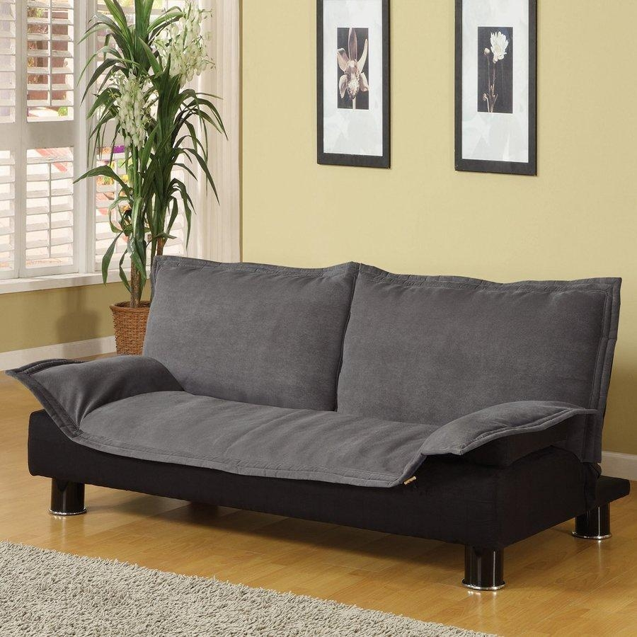 Shop Coaster Fine Furniture Grey/black Microfiber Futon At Lowes Intended For Coaster Futon Sofa Beds (View 12 of 20)