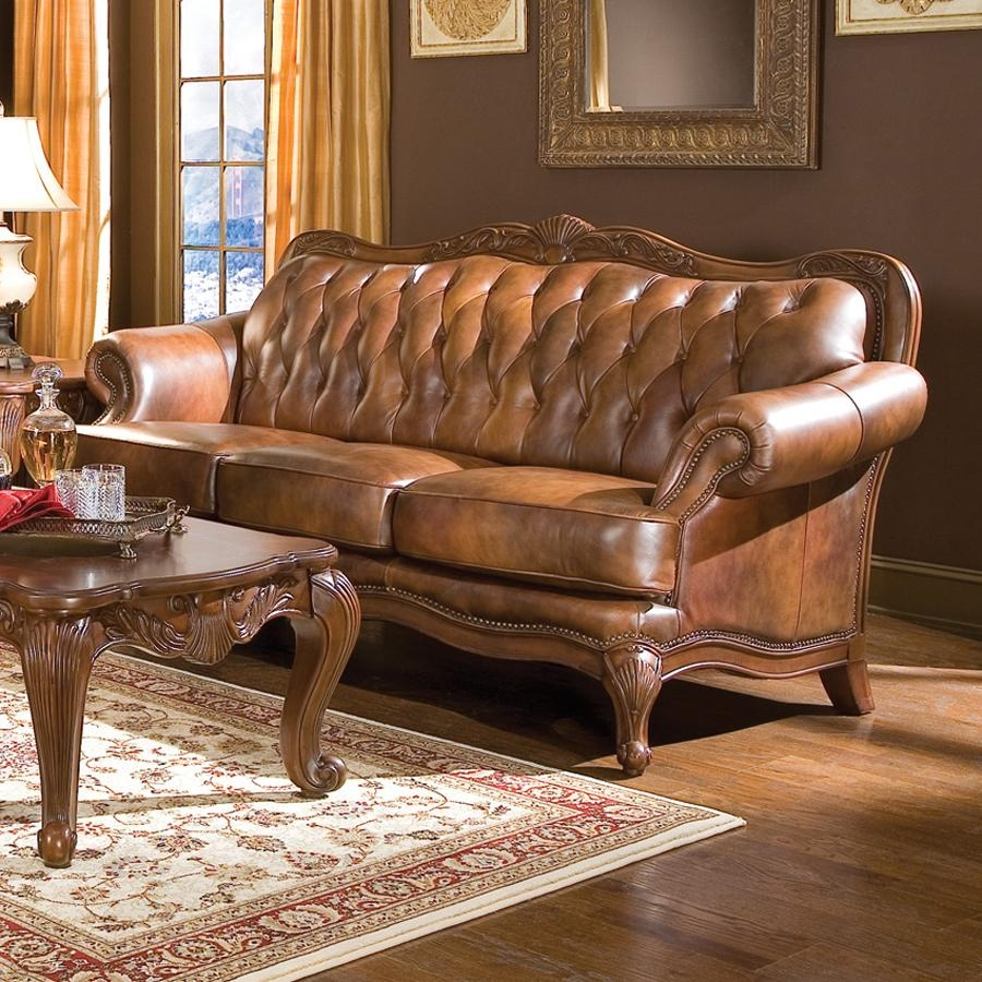 Shop Coaster Fine Furniture Victoria Brown Leather Sofa At Lowes With Victorian Leather Sofas (Image 12 of 20)
