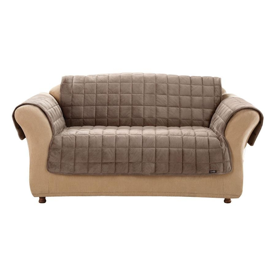 Shop Deluxe Quilted Brown Duck (Canvas) Sofa Slipcover At Lowes With Regard To Canvas Sofa Slipcovers (Image 16 of 20)