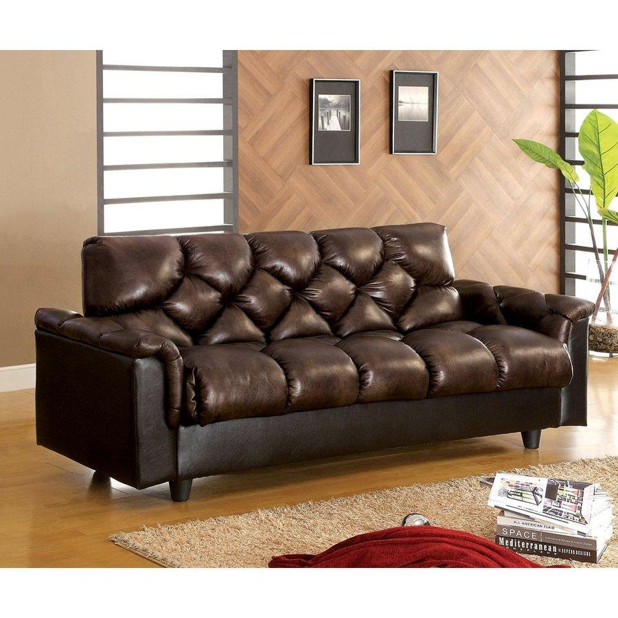 Shop Furniture Of America Bowie Dark Brown Faux Leather Futon At For Faux Leather Futon Sofas (View 15 of 20)