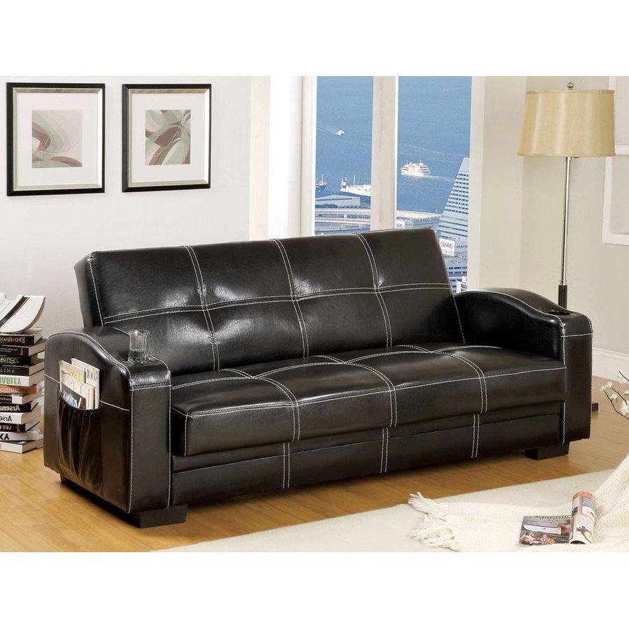 Shop Furniture Of America Colona Black Faux Leather Futon At Lowes Intended For Faux Leather Futon Sofas (View 10 of 20)