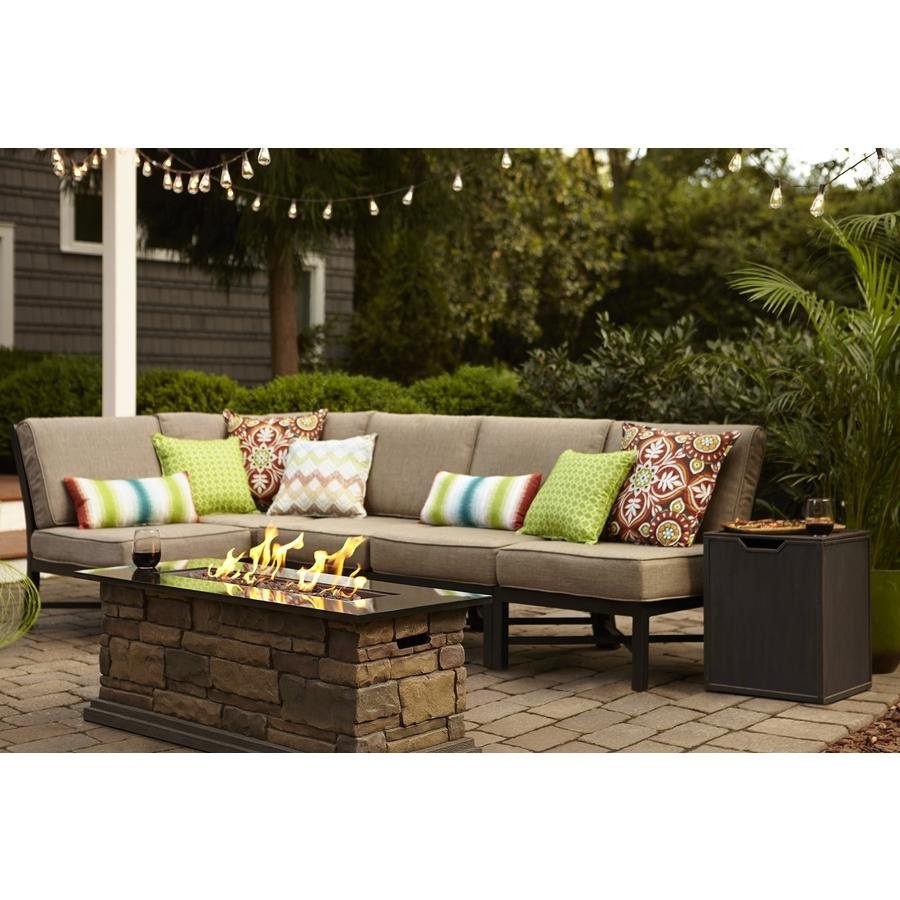 Shop Garden Treasures Palm City 5 Piece Black Steel Patio Within Conversation Sectional (View 3 of 15)