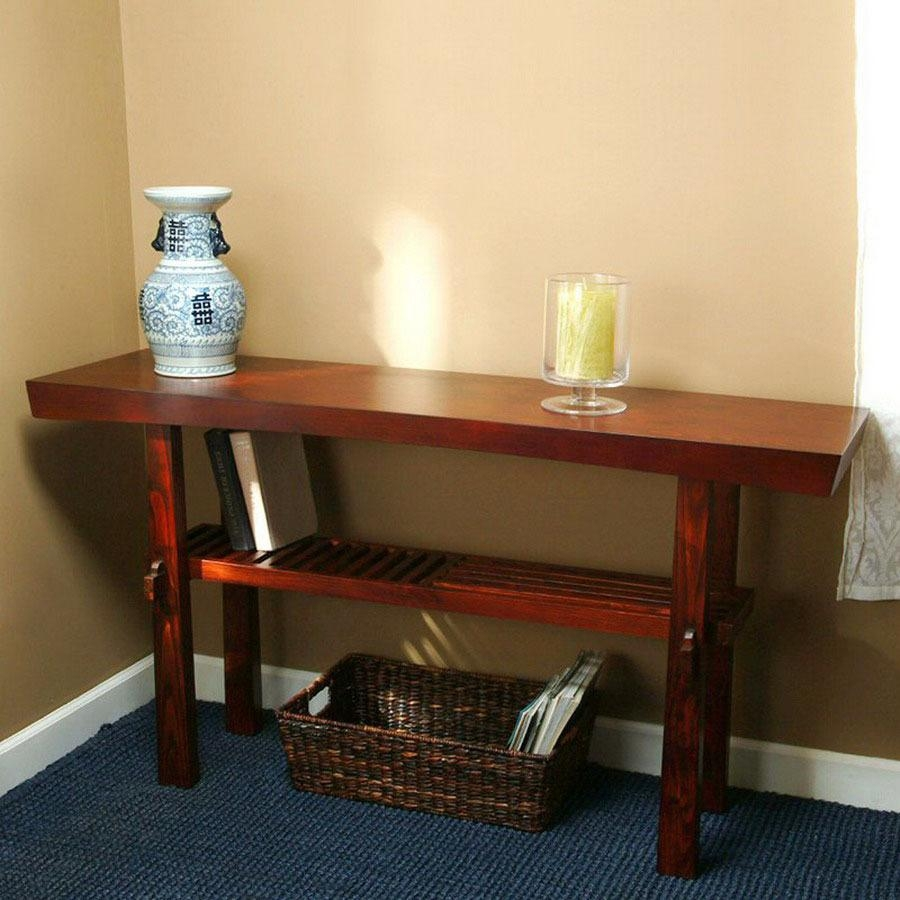 Shop Tms Furniture Koreana Dark Walnut Pine Rectangular Console Within Lowes Sofa Tables (Image 16 of 20)