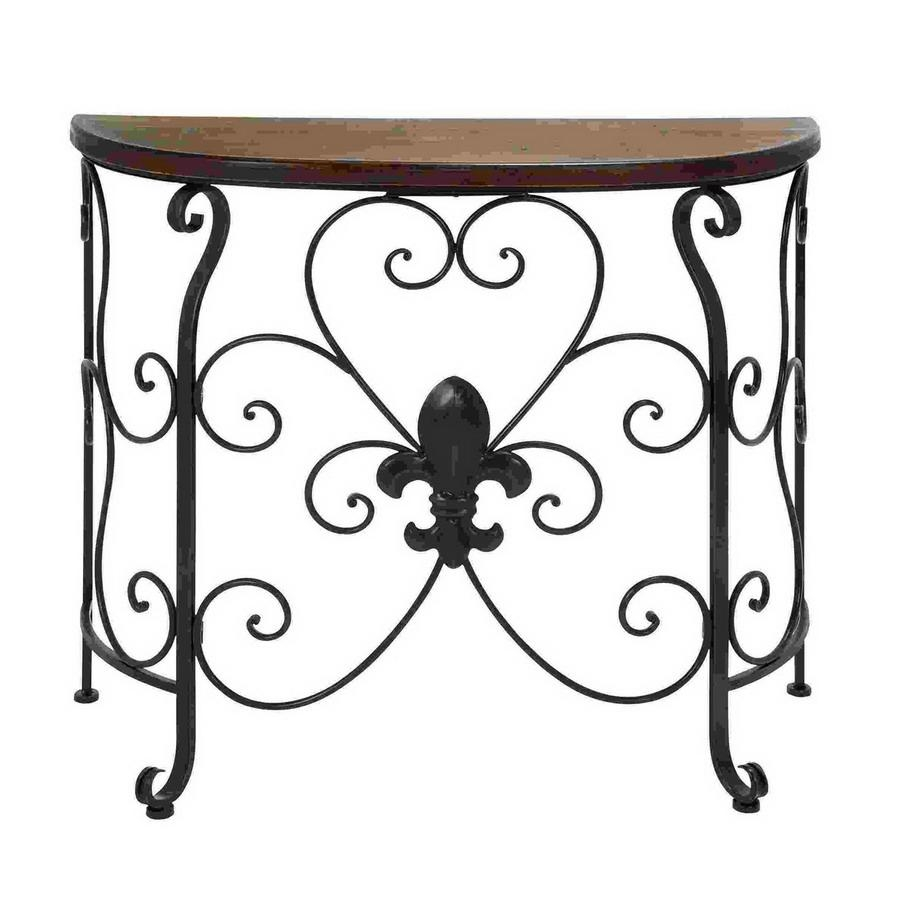 Shop Woodland Imports Metal Half Round Console And Sofa Table At Regarding Lowes Sofa Tables (Image 19 of 20)