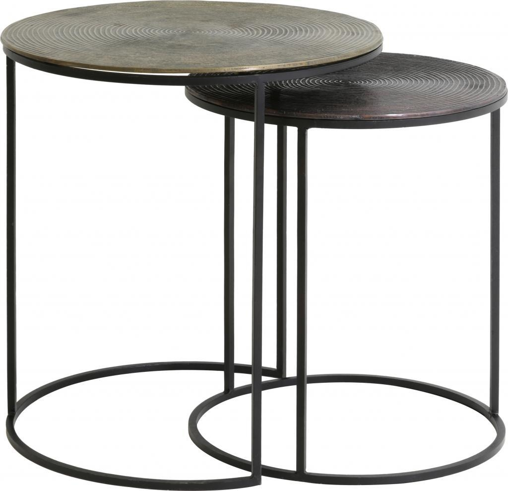 Side Table S/2 Ø41X46+Ø49X52 Cm Talca Nickel – Light & Living Throughout 2×2 Corner Sofas (Image 16 of 20)