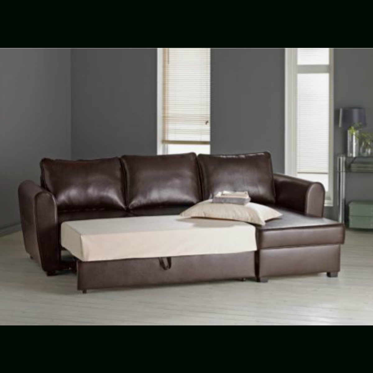 Siena Leather Effect Corner Sofa Bed With Storage  Chocolate Intended For Leather Sofa Beds With Storage (Image 17 of 20)