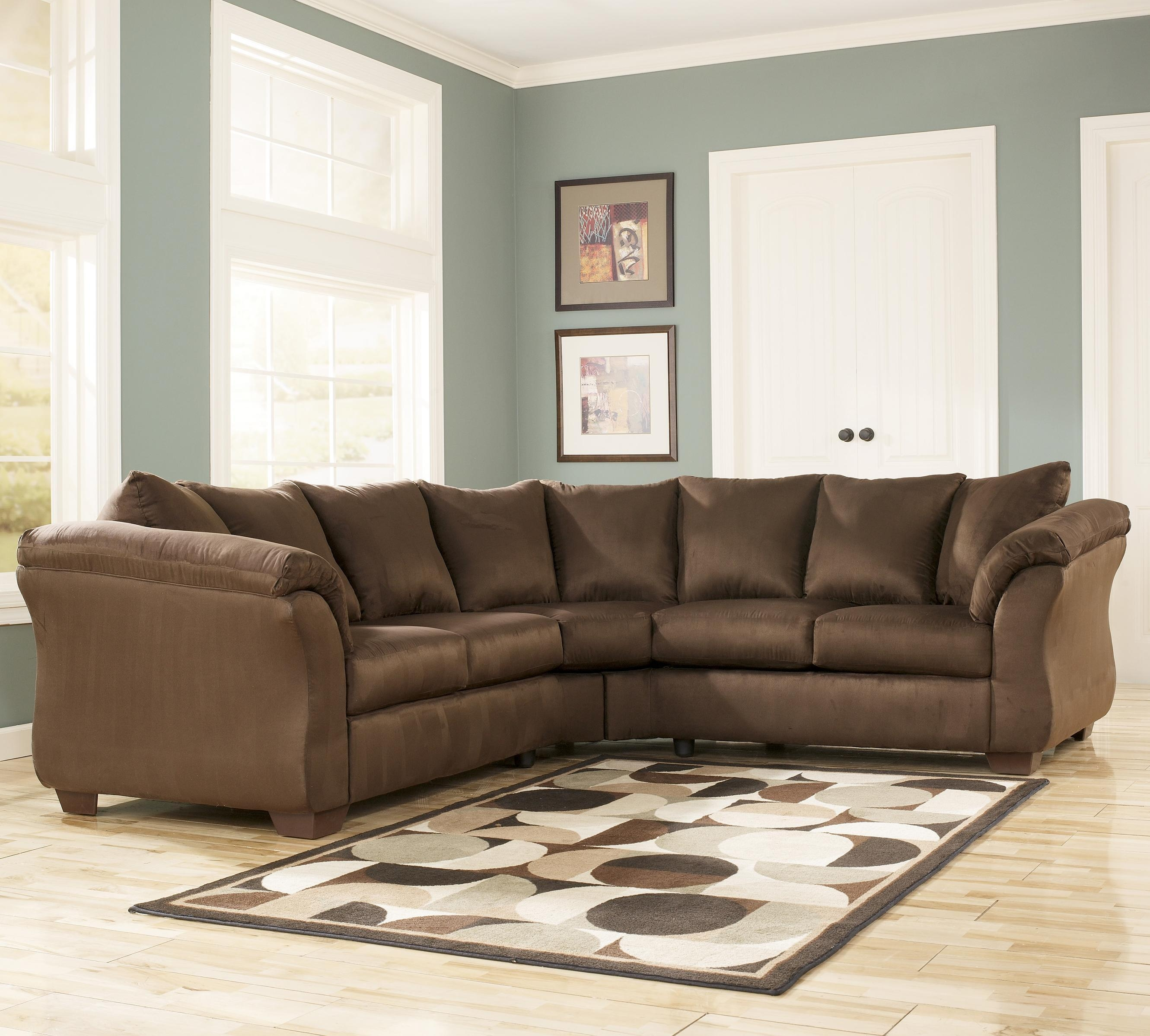 Signature Designashley Darcy – Cafe Contemporary Sectional Pertaining To Ashley Curved Sectional (View 6 of 15)