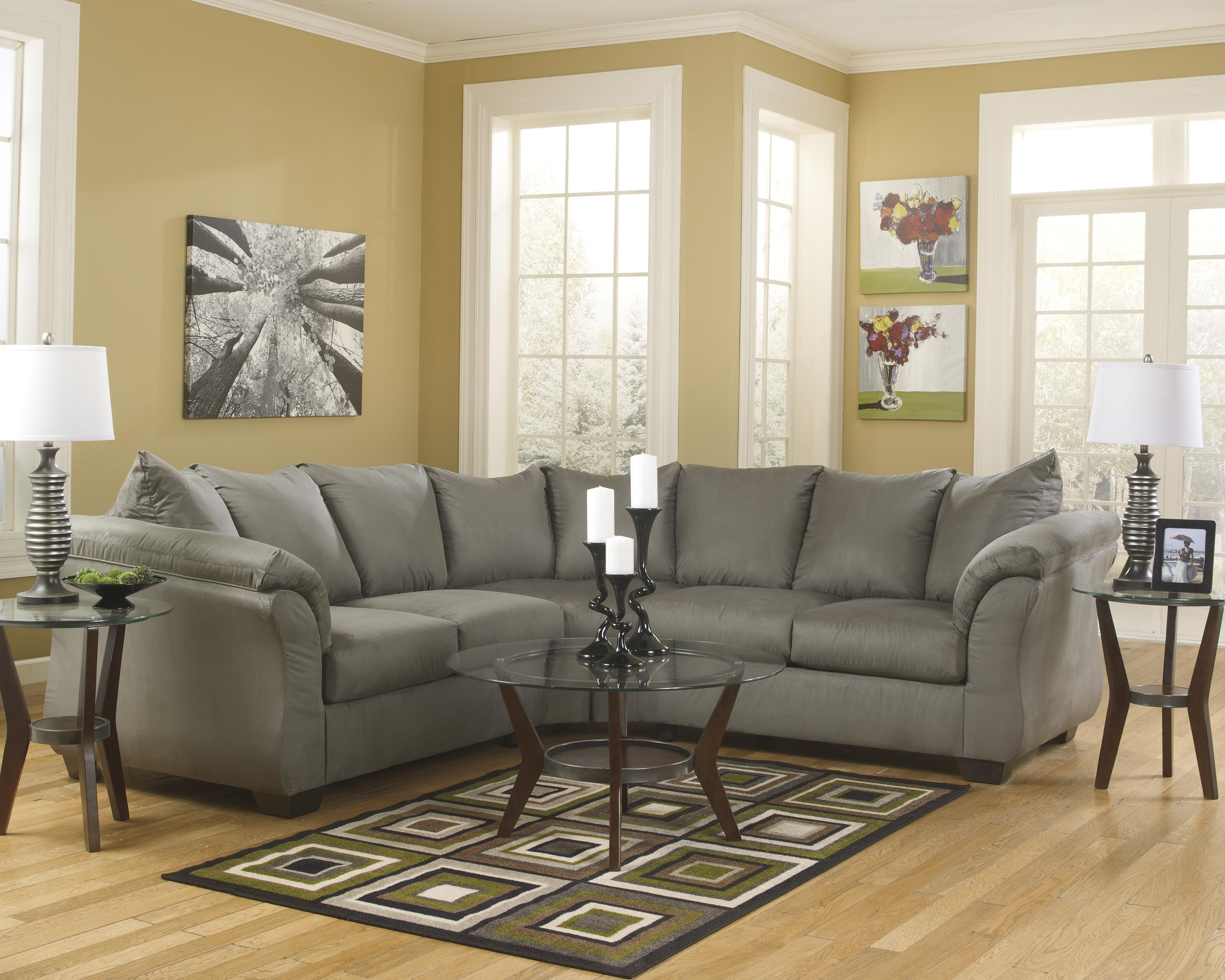 Signature Designashley Darcy – Cobblestone Contemporary With Regard To Ashley Sectional Sleeper (View 7 of 15)
