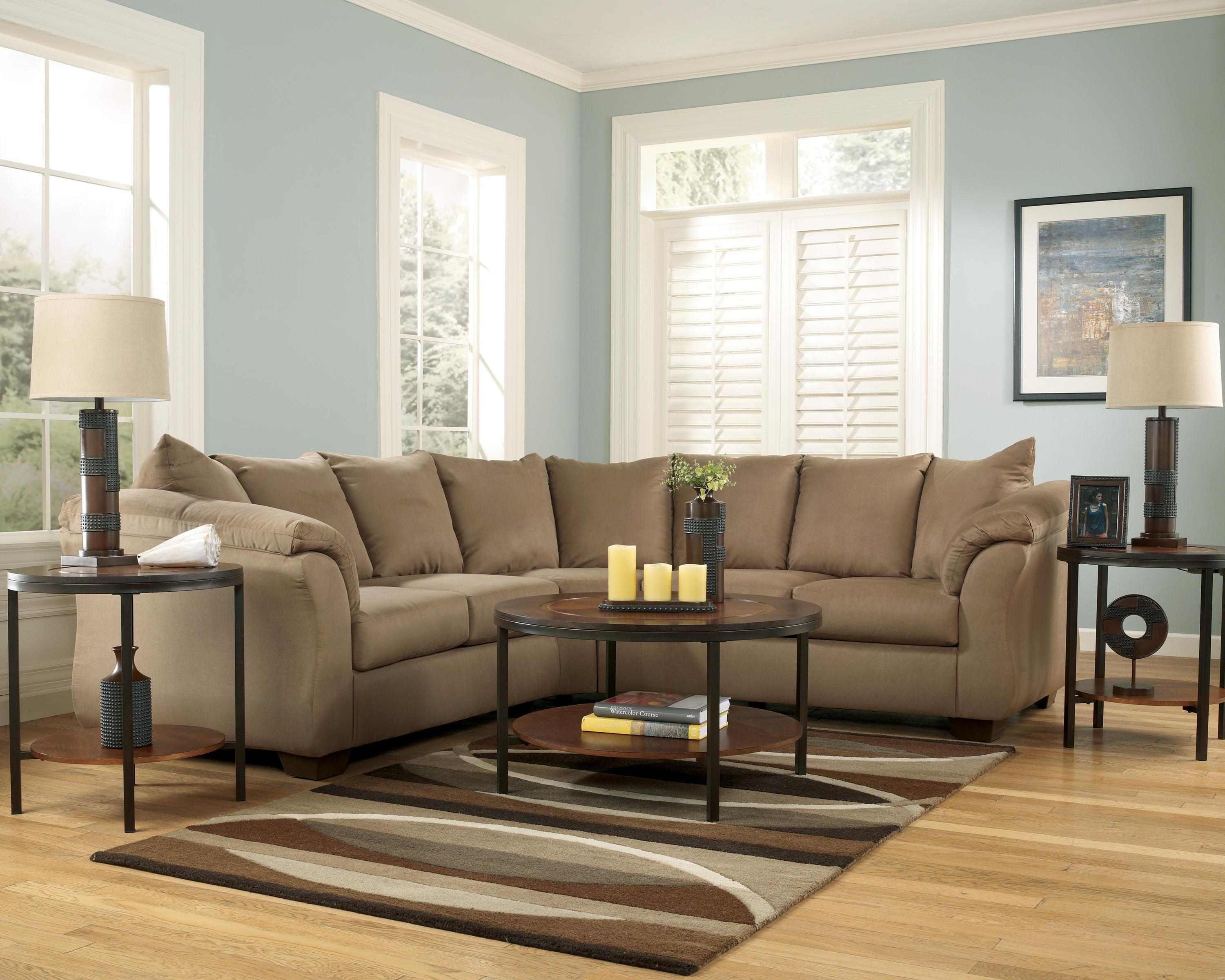 Signature Designashley Darcy – Mocha Contemporary Sectional In Ashley Curved Sectional (View 14 of 15)