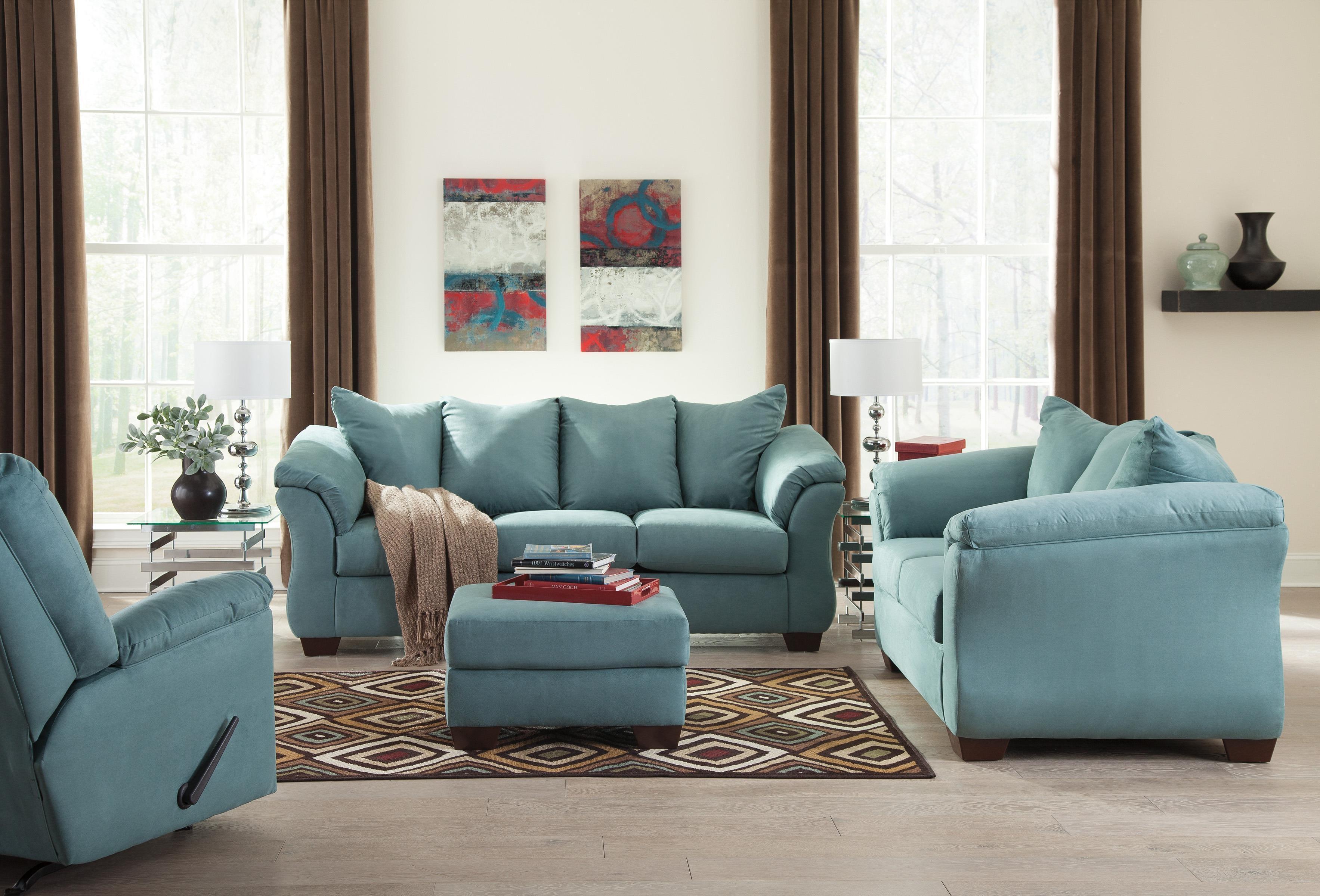 Signature Designashley Darcy – Sky Contemporary Sectional Sofa Throughout Sky Blue Sofas (Image 14 of 20)