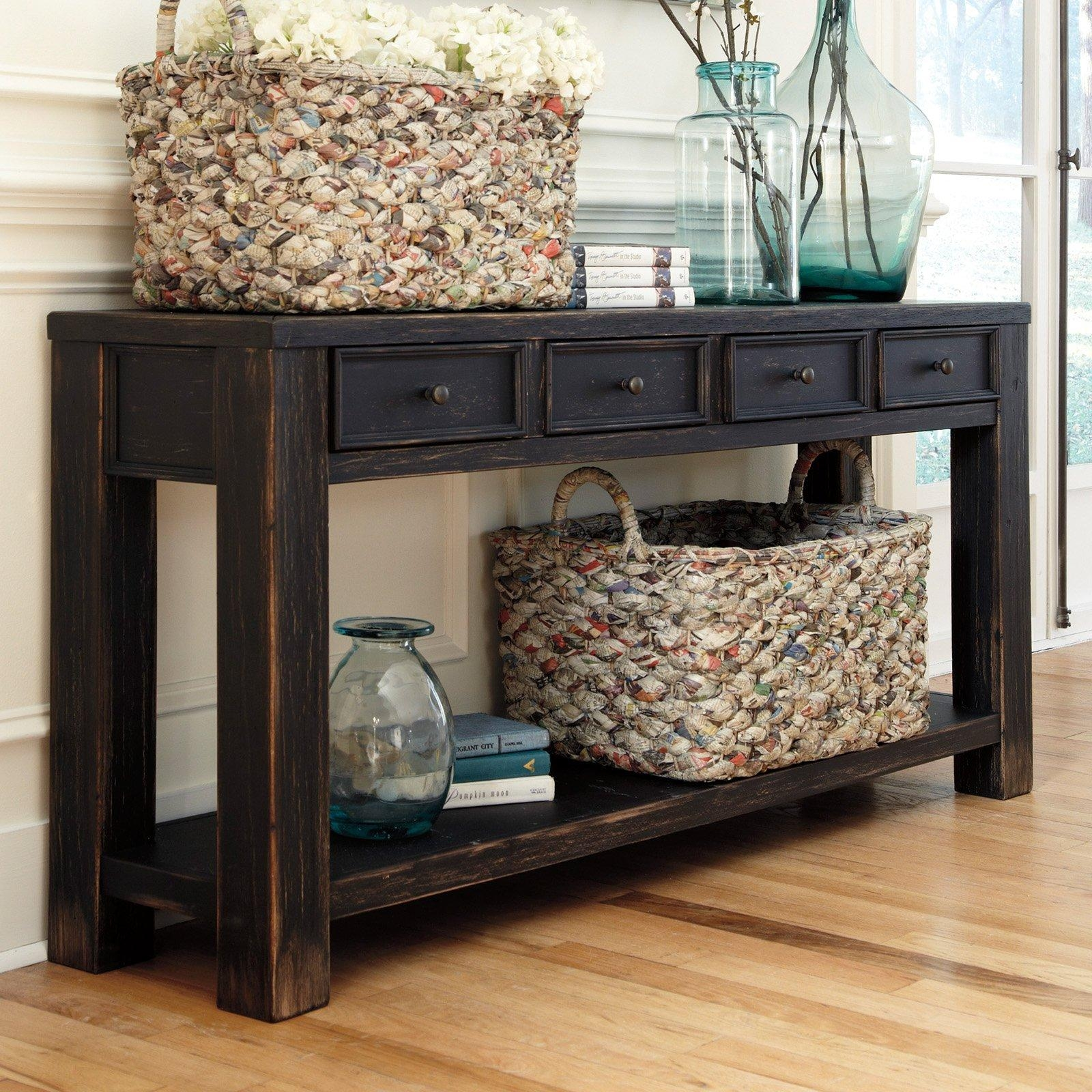 Signature Designashley Gavelston Rectangular Black Sofa Table Throughout Sofa Table Drawers (View 2 of 20)