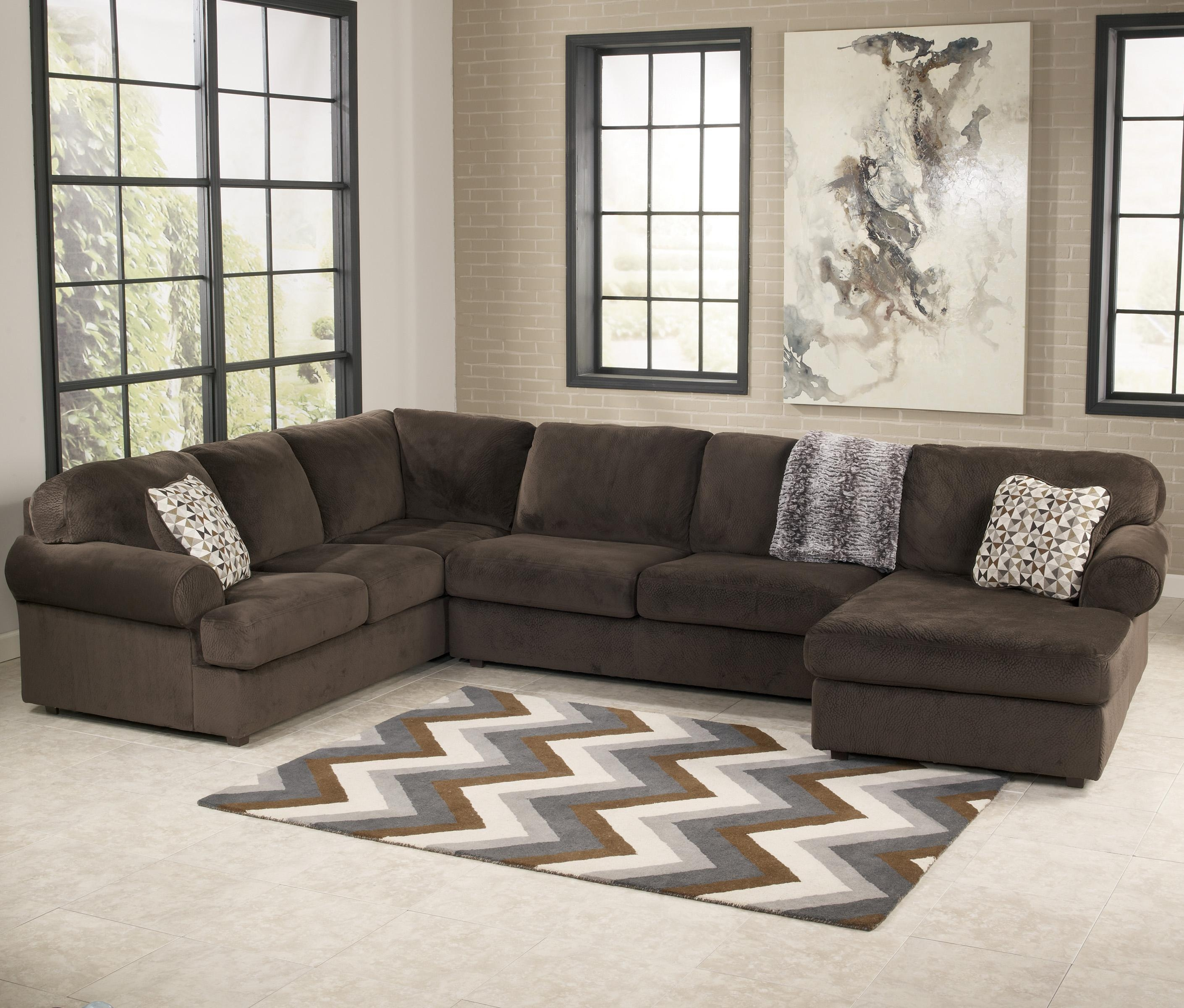 Signature Designashley Jessa Place – Chocolate Casual Inside Ashley Curved Sectional (View 9 of 15)