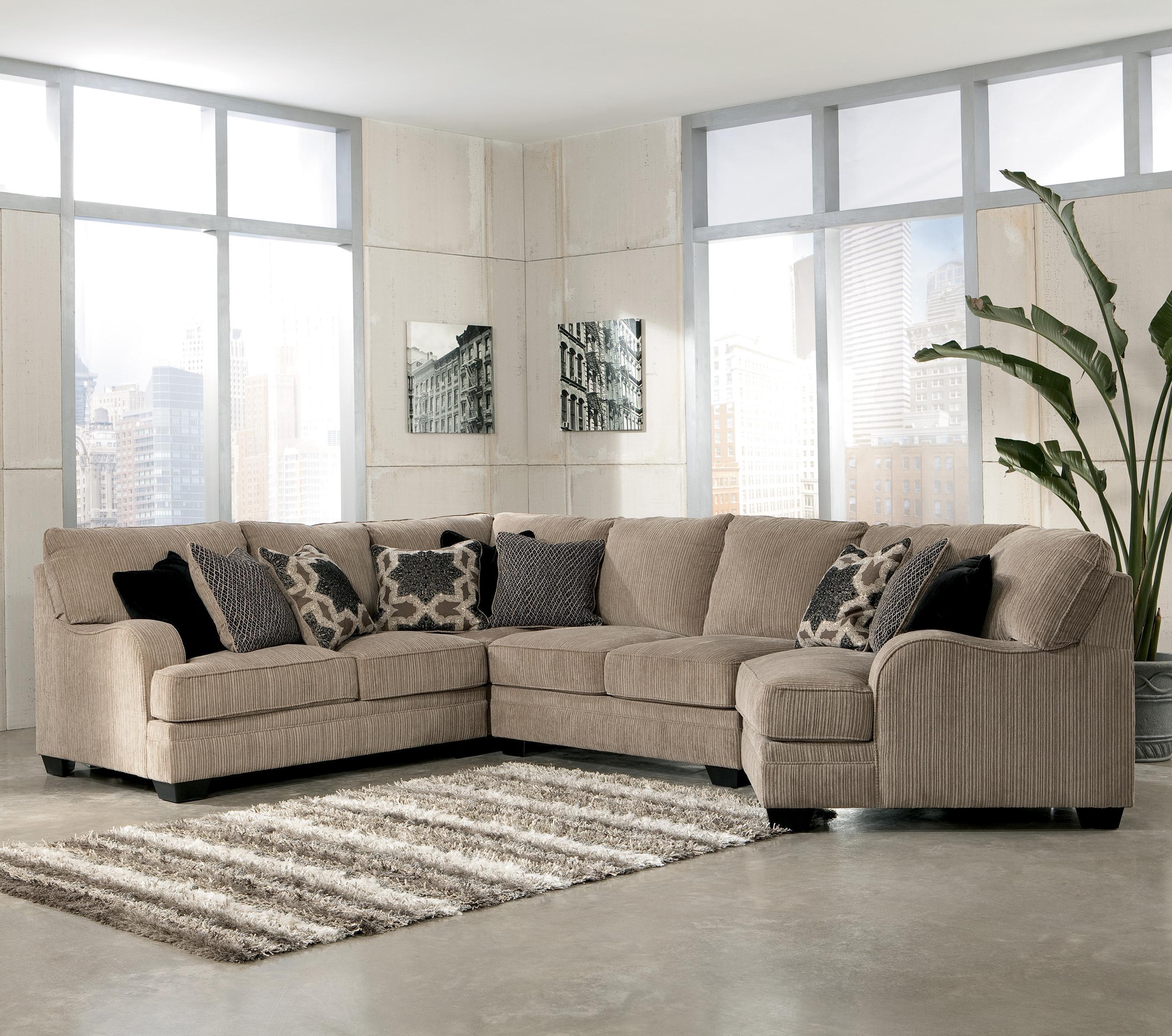Signature Designashley Katisha – Platinum 5 Piece Sectional In Ashley Corduroy Sectional Sofas (Image 12 of 20)