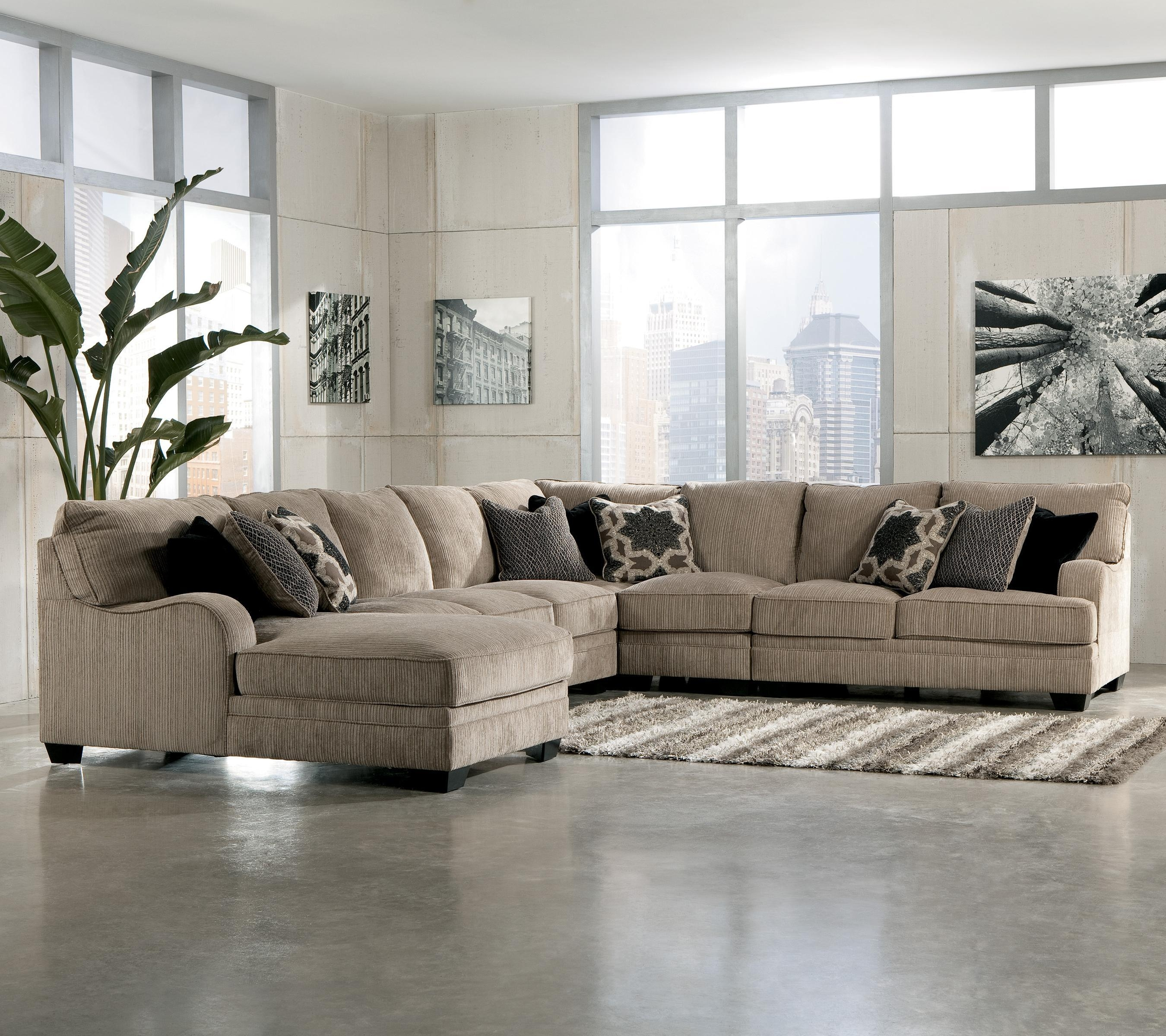 Signature Designashley Katisha – Platinum 5 Piece Sectional Inside Ashley Furniture Brown Corduroy Sectional Sofas (View 17 of 20)