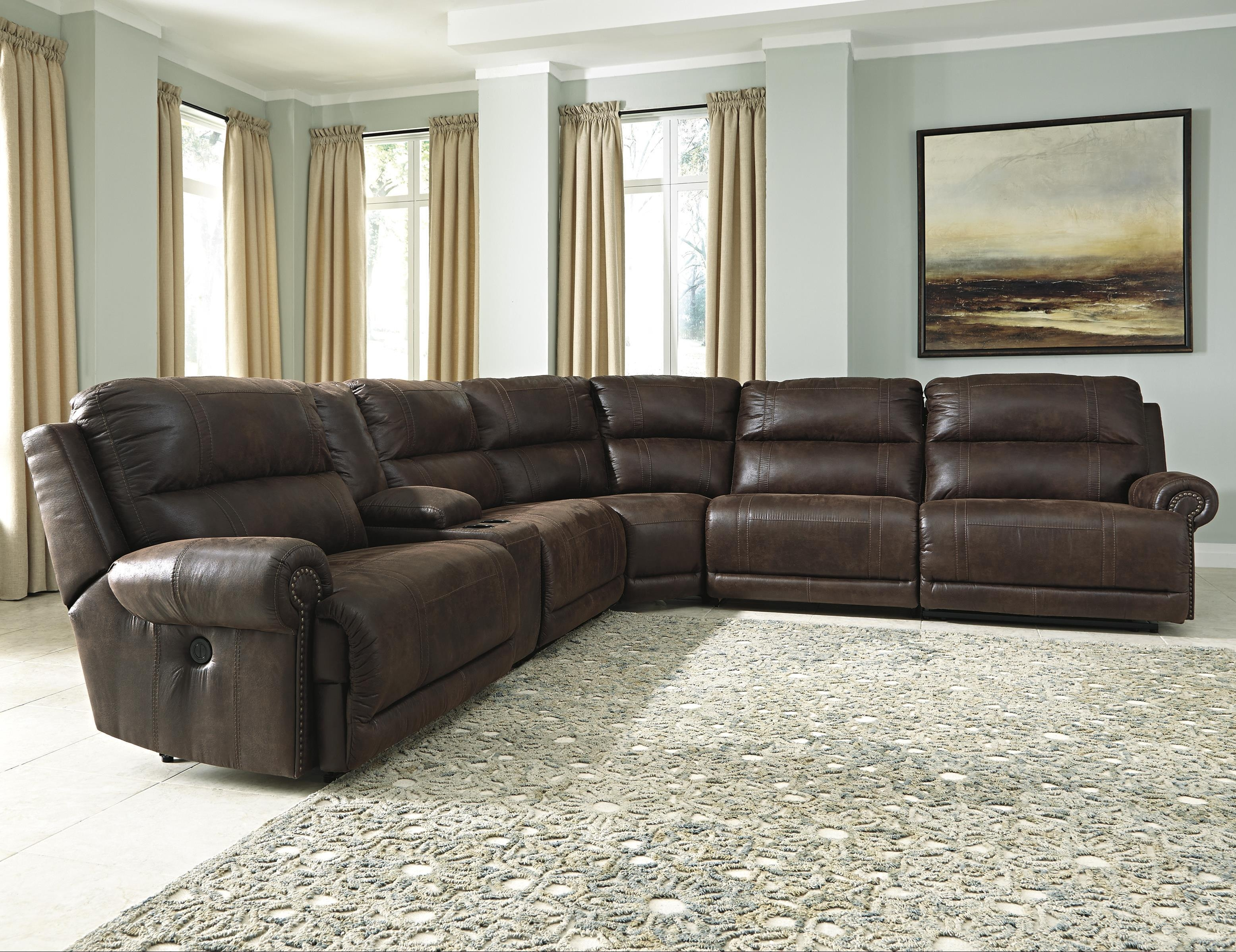 Signature Designashley Luttrell 6 Piece Reclining Sectional Inside 6 Piece Sectional Sofas Couches (Image 18 of 20)