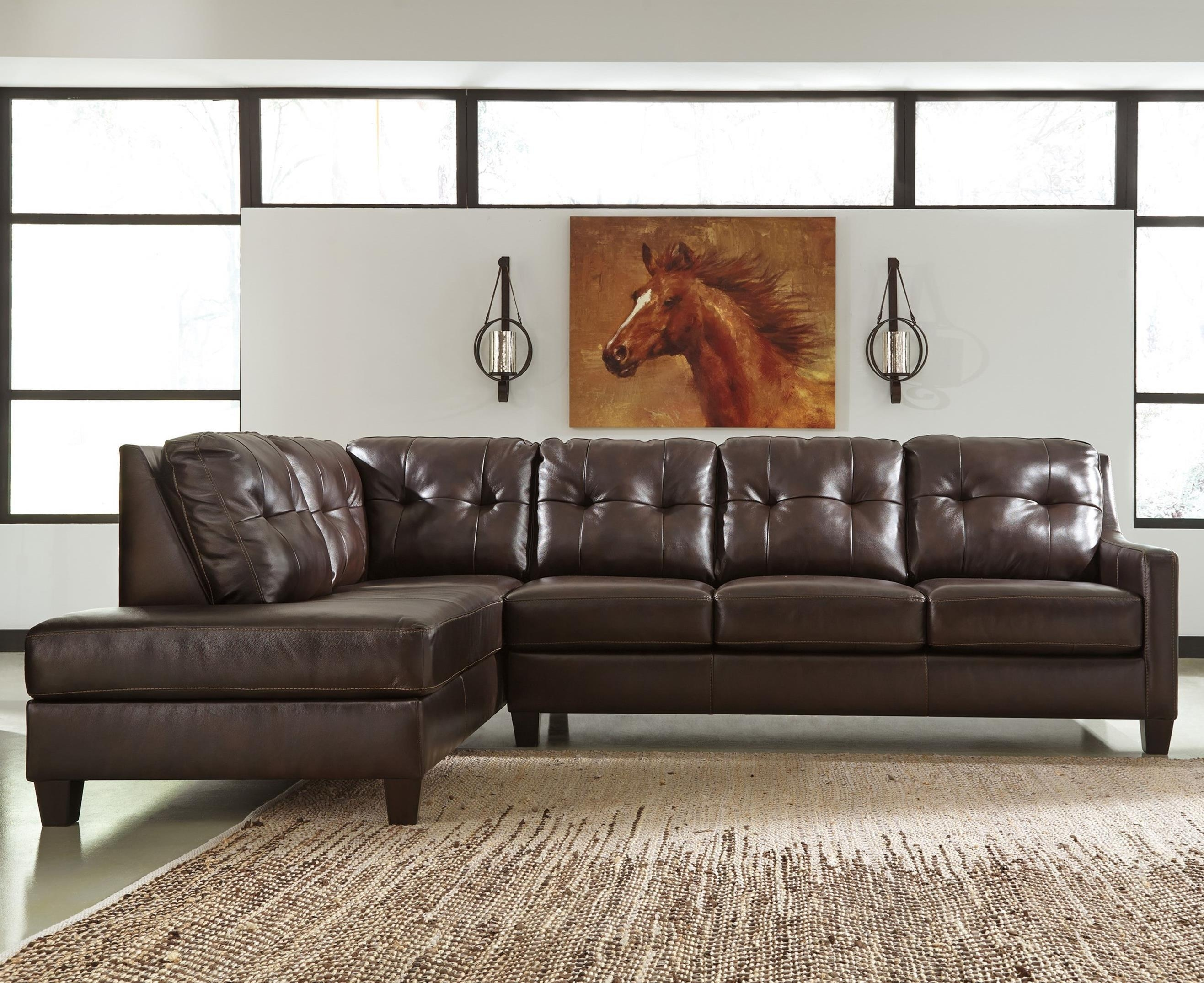 Signature Designashley O'kean Leather Match 2 Piece Sectional Inside Ashley Sectional Sleeper (Image 14 of 15)