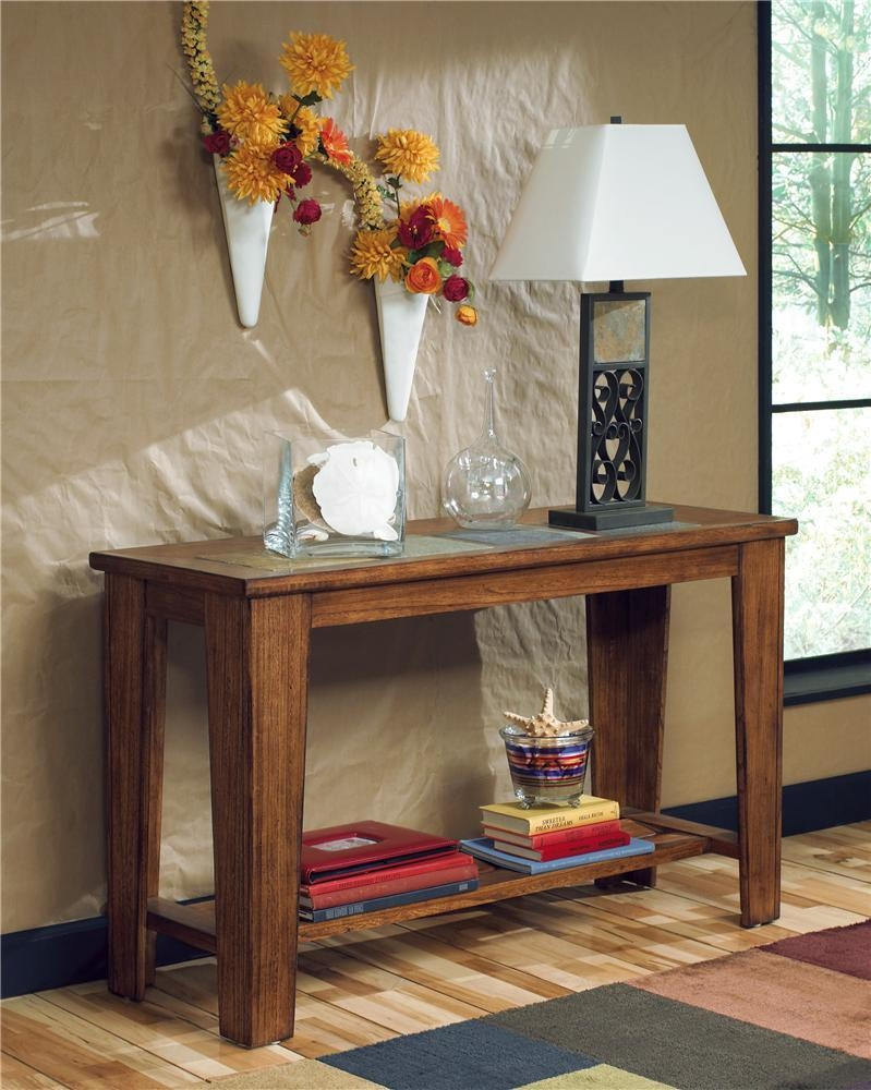 Signature Designashley Toscana Sofa Table With Slate Inlays In Slate Sofa Tables (View 14 of 20)