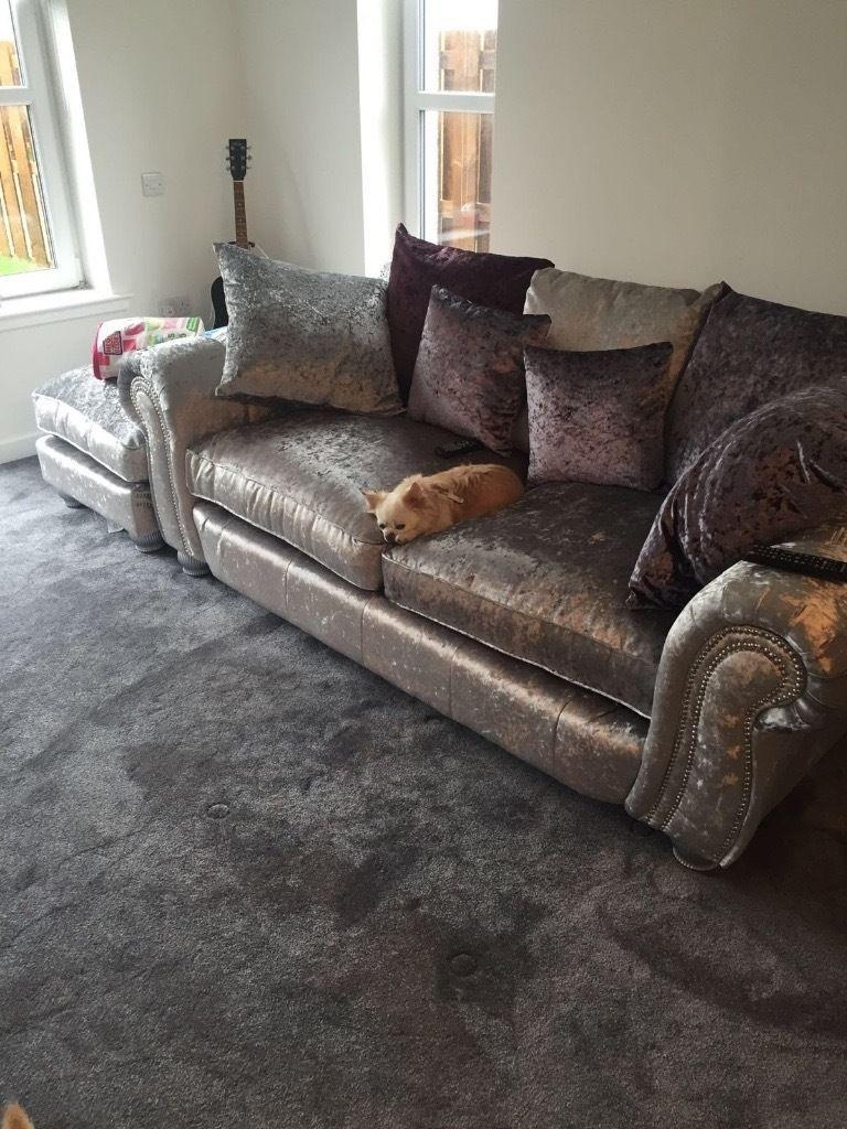 Silver Velvet 3 Seater Sofa With Purple Cushions, Matching Swivel With 3 Seater Sofa And Cuddle Chairs (View 13 of 20)
