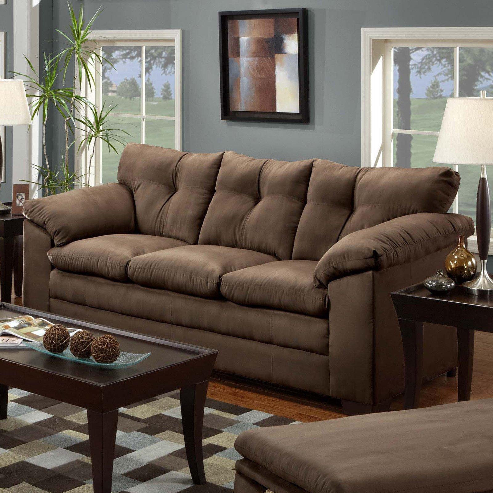 Simmons Luna Chocolate Microfiber Sofa – Walmart Pertaining To Simmons Microfiber Sofas (Image 7 of 20)