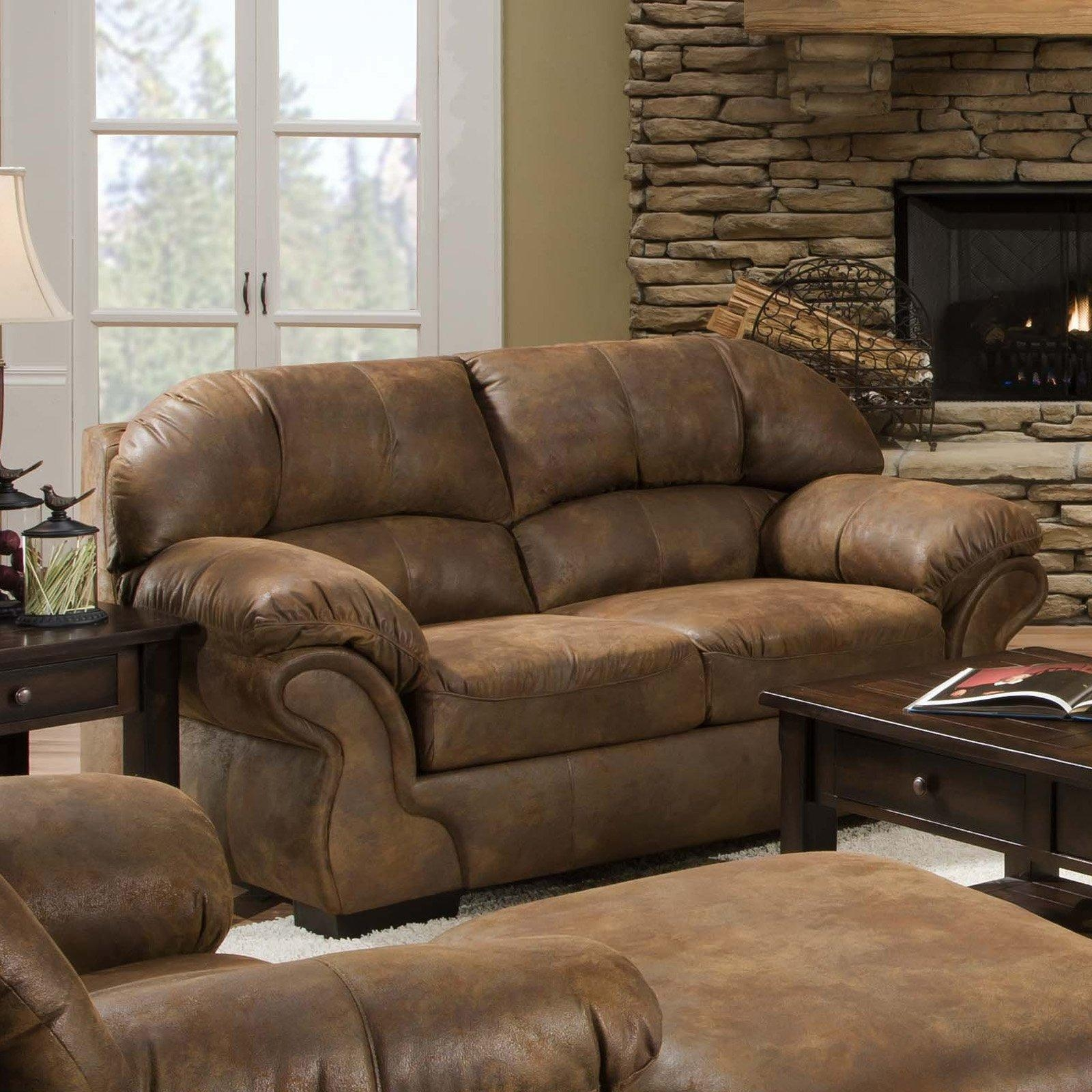 Simmons Pinto Tobacco Leather Loveseat | Hayneedle With Simmons Leather Sofas (Image 10 of 20)
