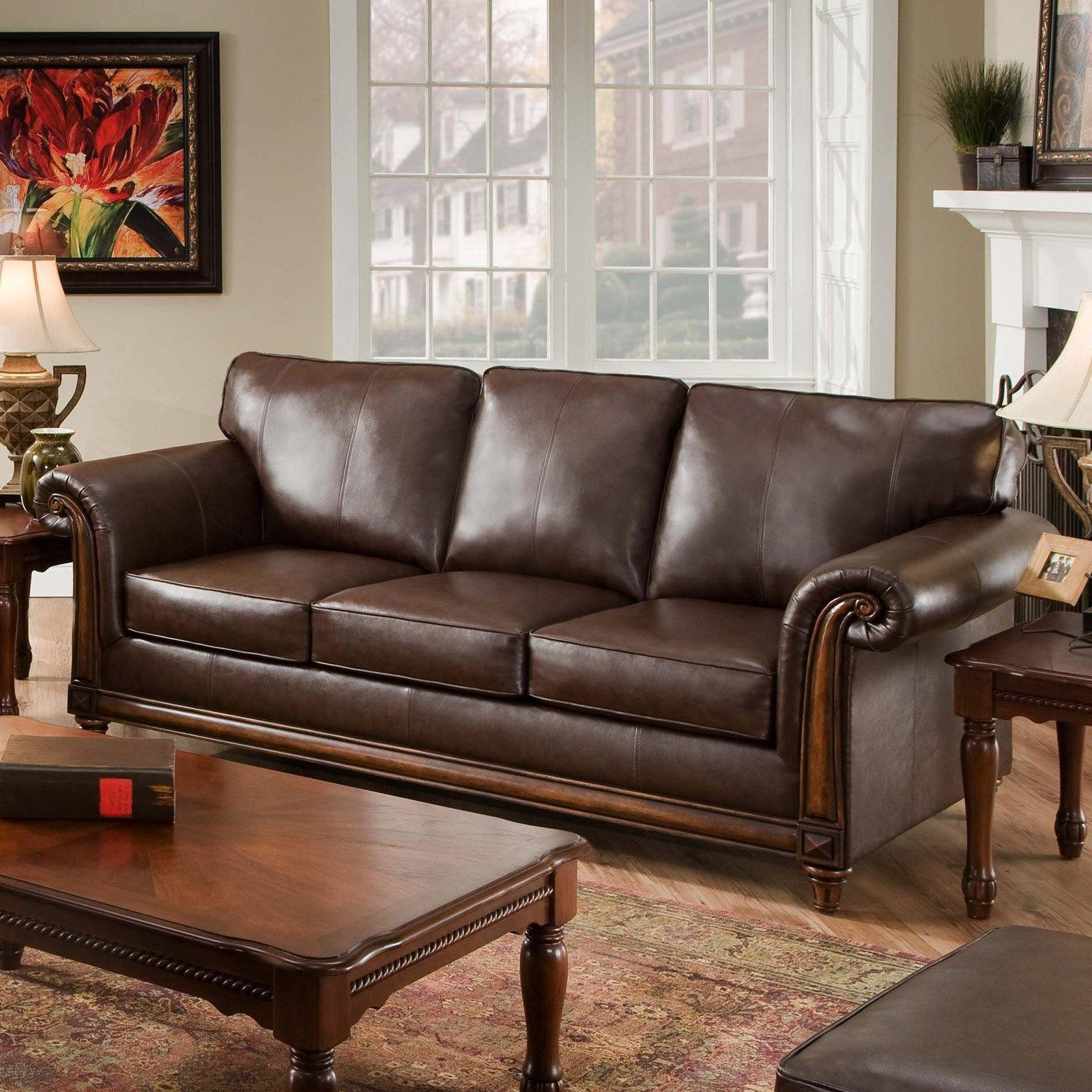 Simmons San Diego Coffee Leather Sofa | Hayneedle Within Leather Sectional San Diego (Image 11 of 20)