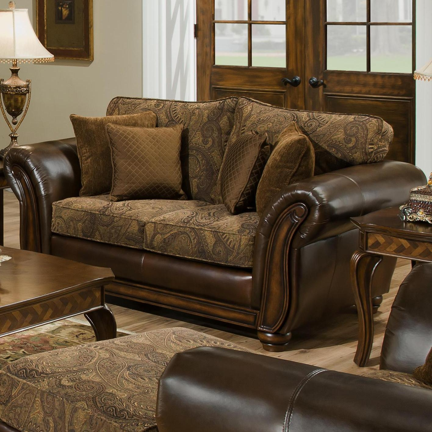 Simmons Upholstery 8104 Queen Leather And Chenille Hide A Bed Sofa Inside Simmons Leather Sofas (Image 13 of 20)