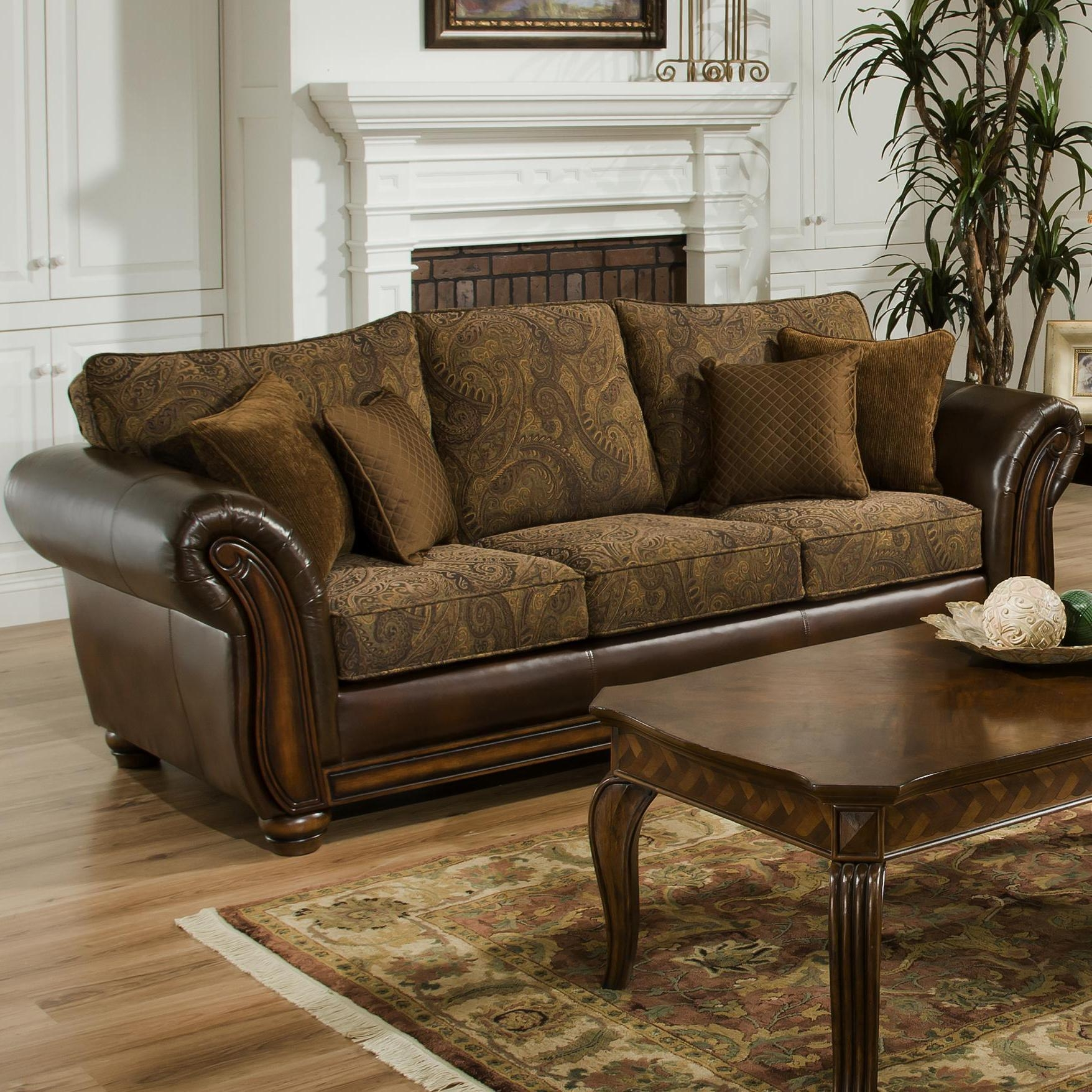 Simmons Upholstery 8104 Queen Leather And Chenille Hide A Bed Sofa Within Simmons Leather Sofas (Image 14 of 20)
