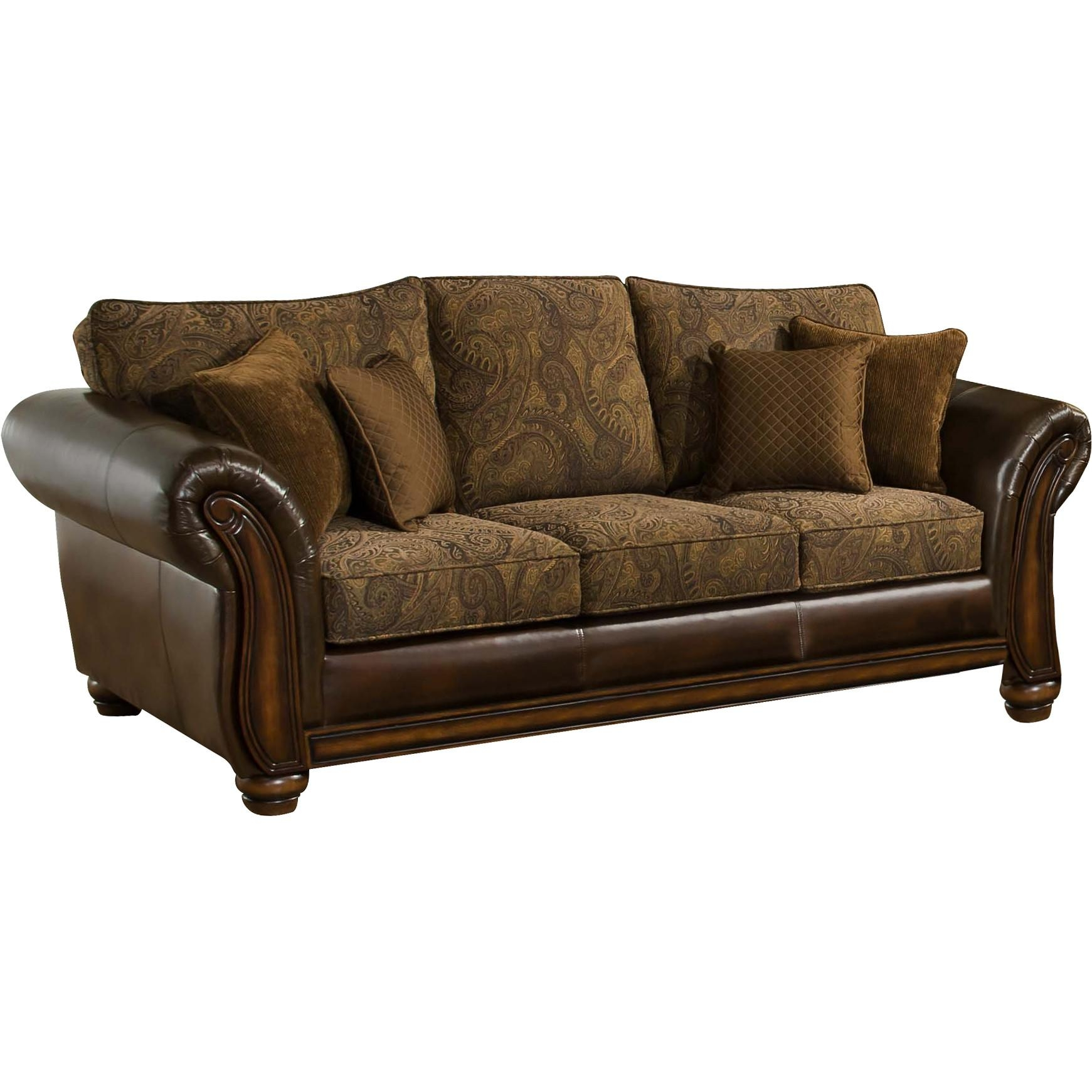 Simmons Upholstery Brown Leather Zephyr Queen Sleeper Sofa