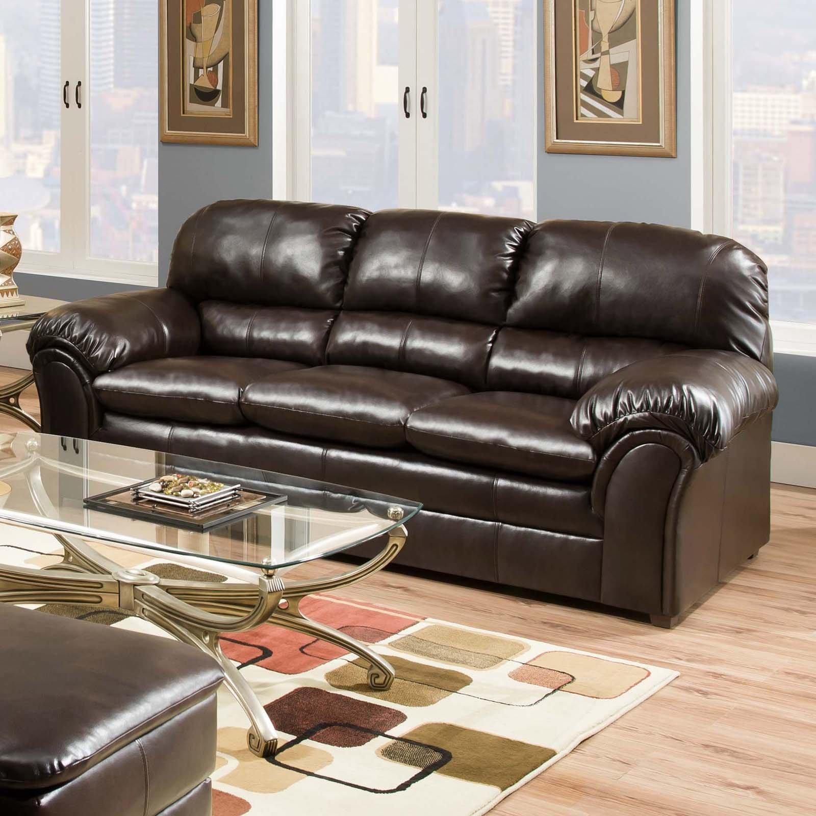 Simmons Upholstery Premier Bonded Leather Sofa | Hayneedle With Bonded Leather Sofas (Image 17 of 20)