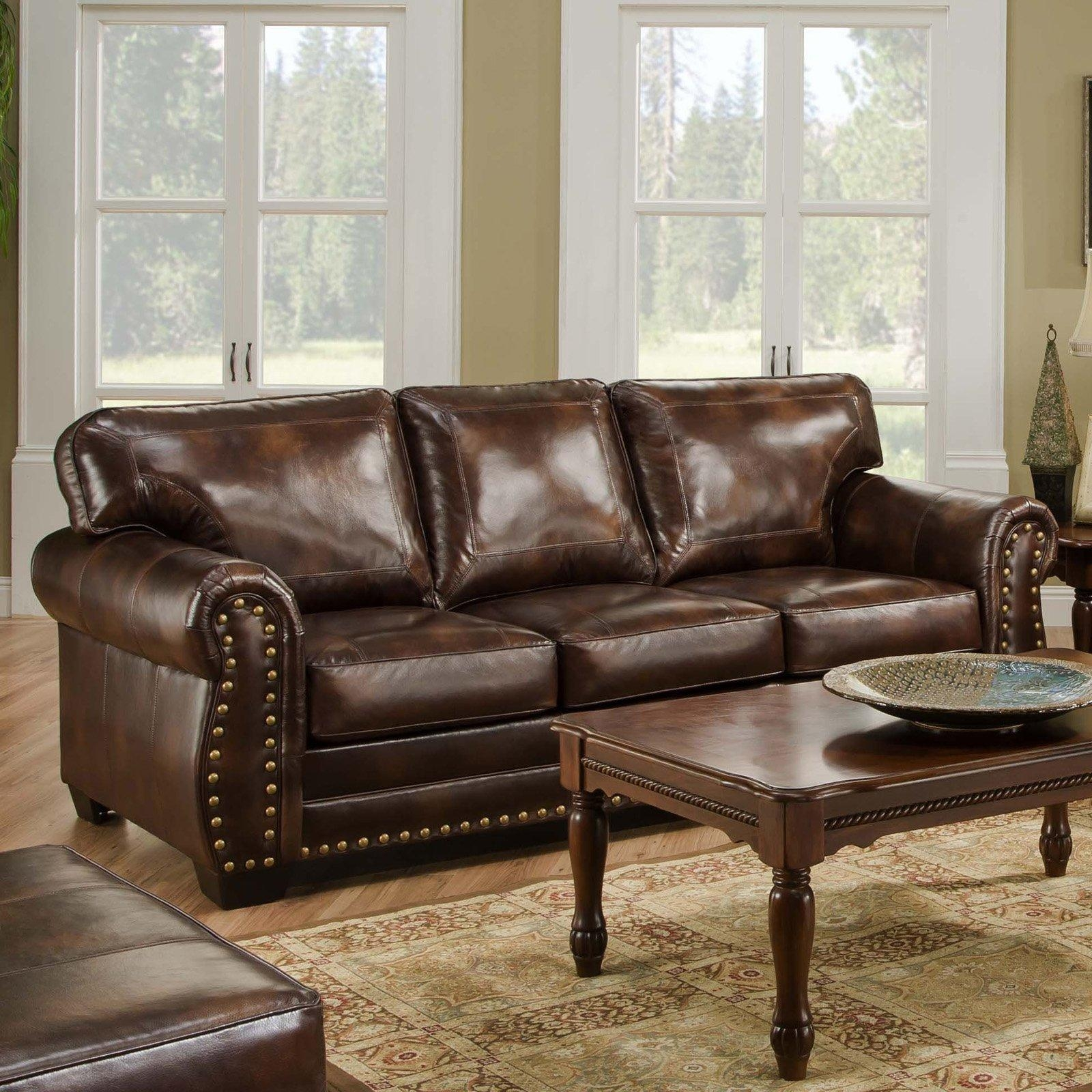 Simmons Vintage Encore Leather Sofa With Nail Heads | Hayneedle Throughout Simmons Leather Sofas And Loveseats (Image 13 of 20)