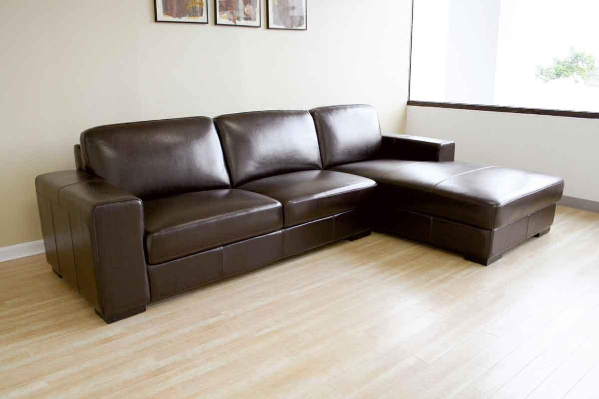 Simple Design Living Room With Encore Brown Leather Sectional Sofa Within Sleek Sectional Sofa (Image 15 of 20)