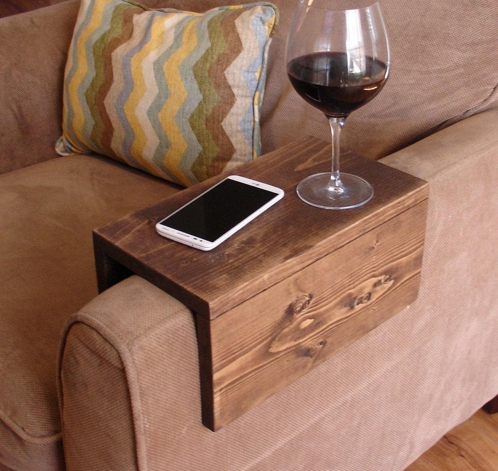 Simply Awesome Couch Sofa Arm Rest Wrap Tray Table Extra Wide Regarding Sofa Drink Tables (View 2 of 20)
