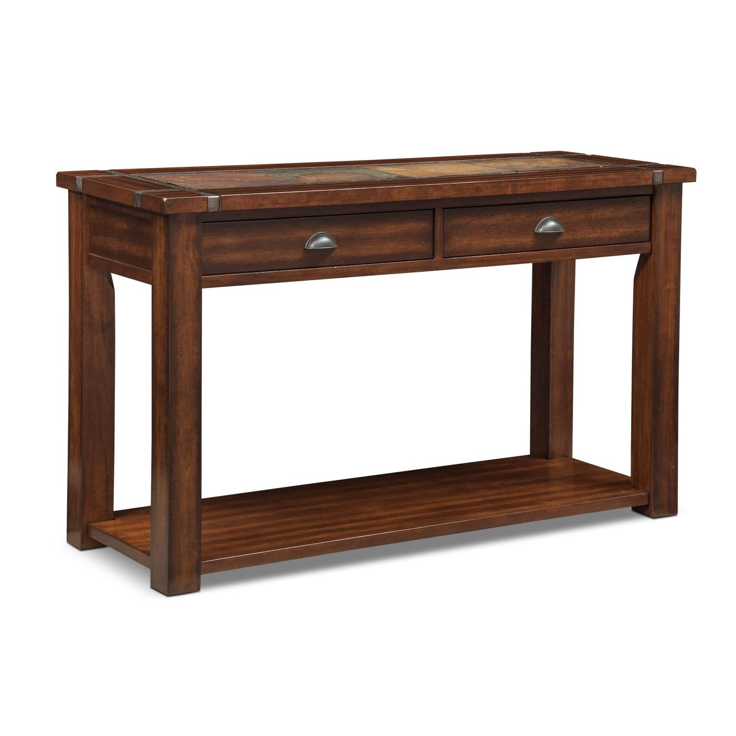 Slate Ridge Sofa Table – Cherry | Value City Furniture With Regard To Slate Sofa Tables (Image 9 of 20)