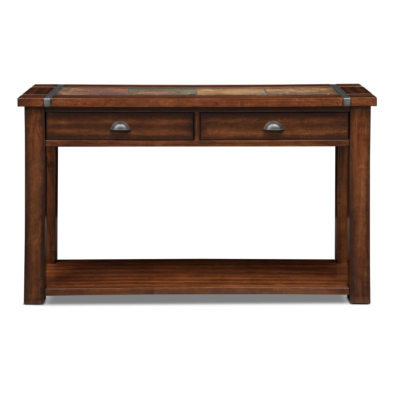 Slate Ridge Sofa Table – Cherry | Value City Furniture Within Slate Sofa Tables (Image 11 of 20)