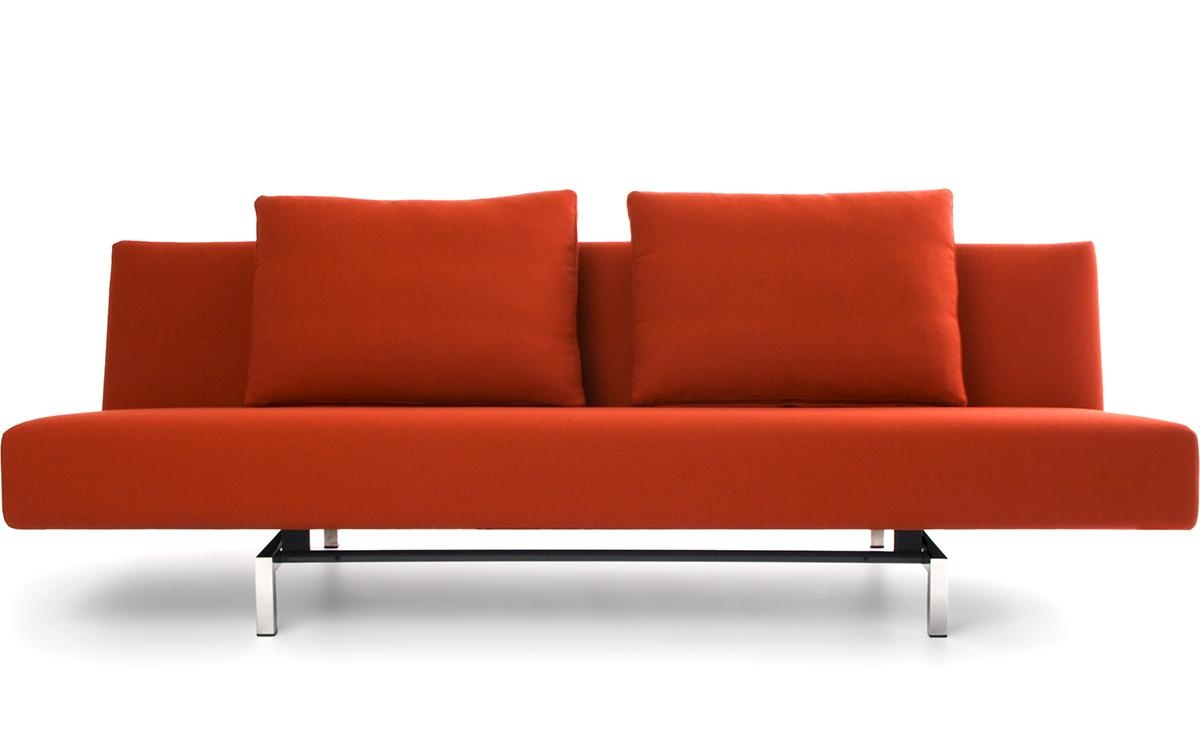 Sleeper Sofa With 2 Cushions – Hivemodern Throughout Red Sleeper Sofa (Image 19 of 20)