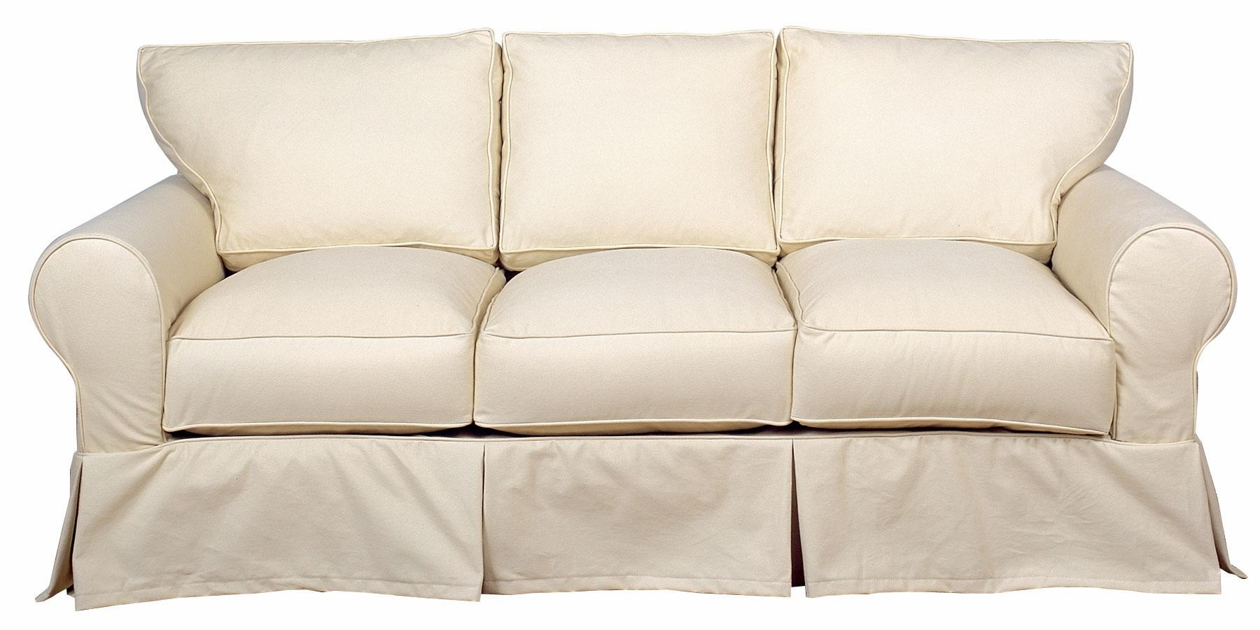 Slipcover 3 Cushion Queen Sleeper Sofa Within Slipcovers For Sleeper Sofas (Image 11 of 20)