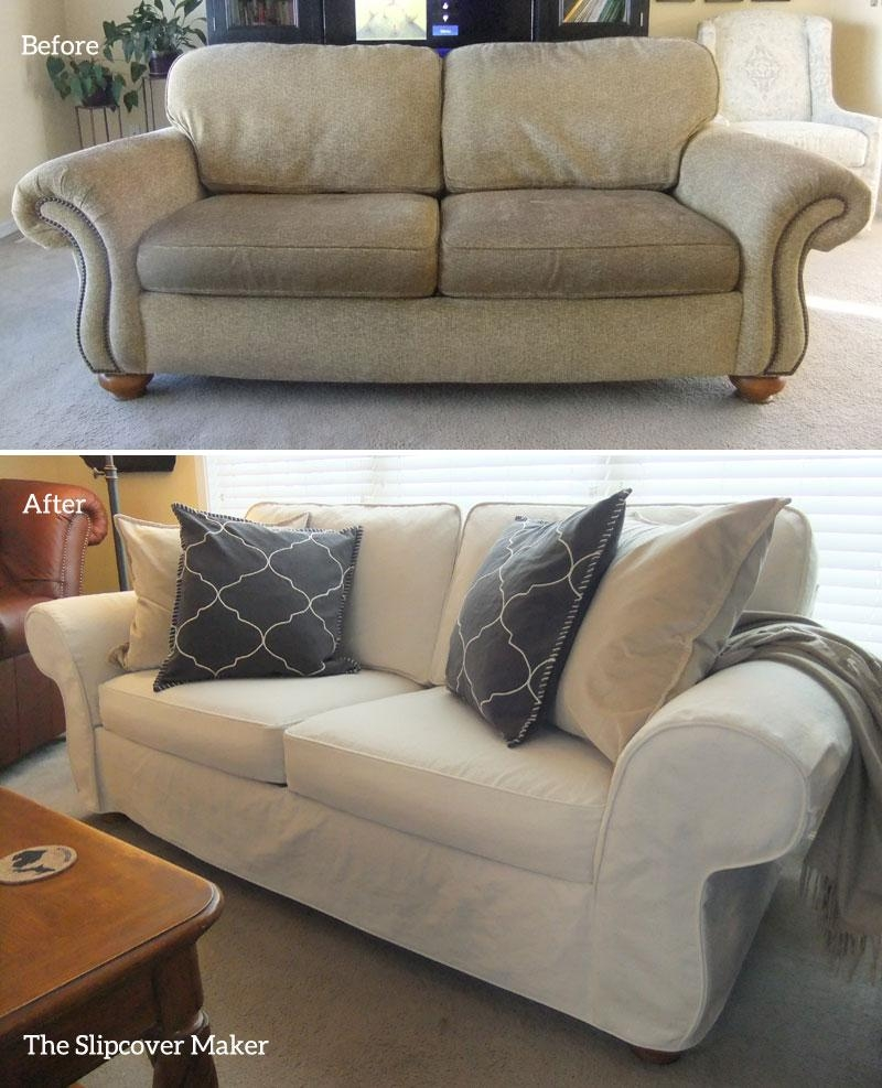 Slipcover Makeover For Flexsteel Furniture | The Slipcover Maker Within Denim Sofa Slipcovers (View 11 of 20)