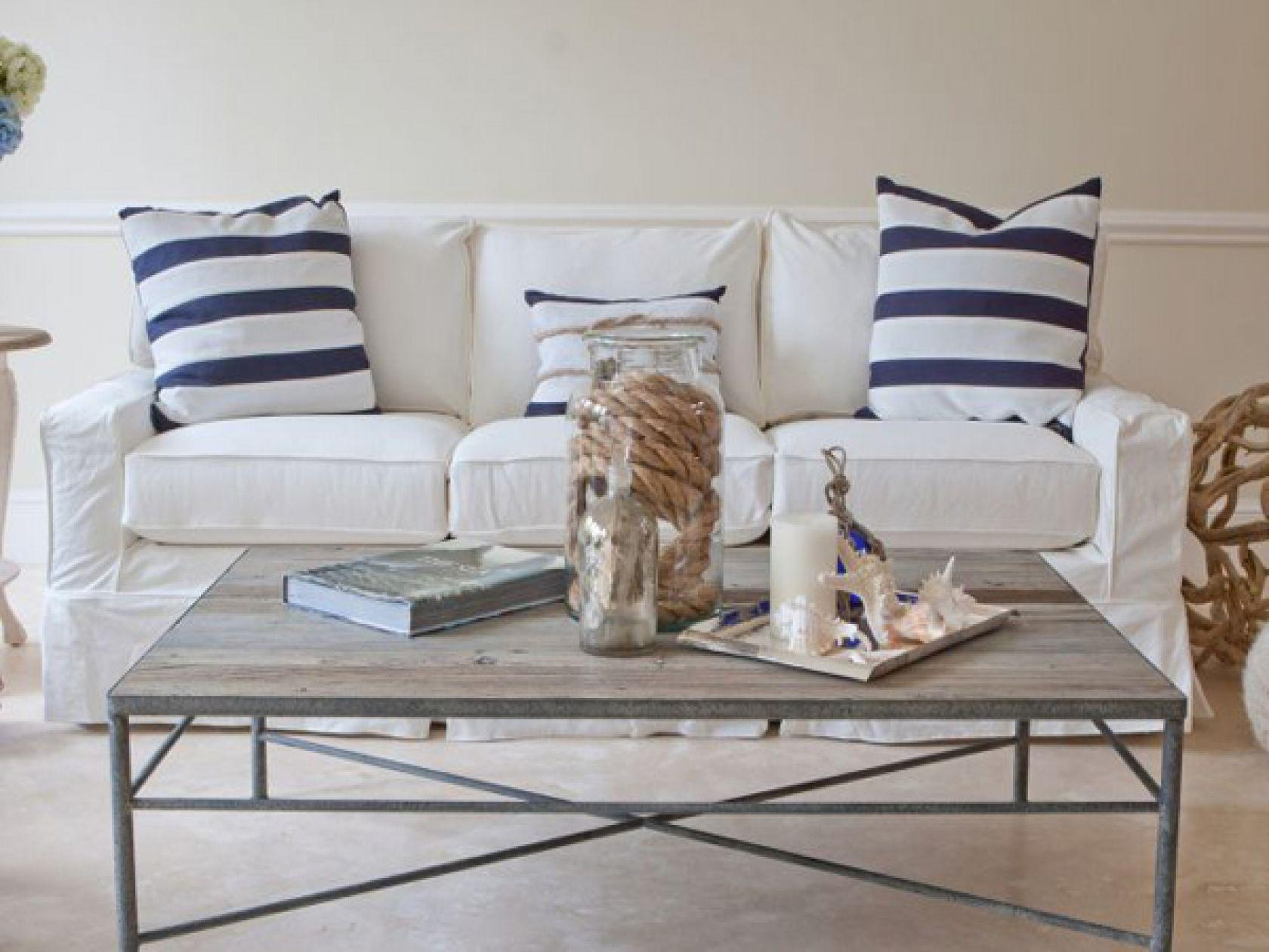 Slipcovered Furniture: Chairs, Sectionals & Sofas In Slipcover Fabrics For Blue And White Striped Sofas (Image 15 of 20)