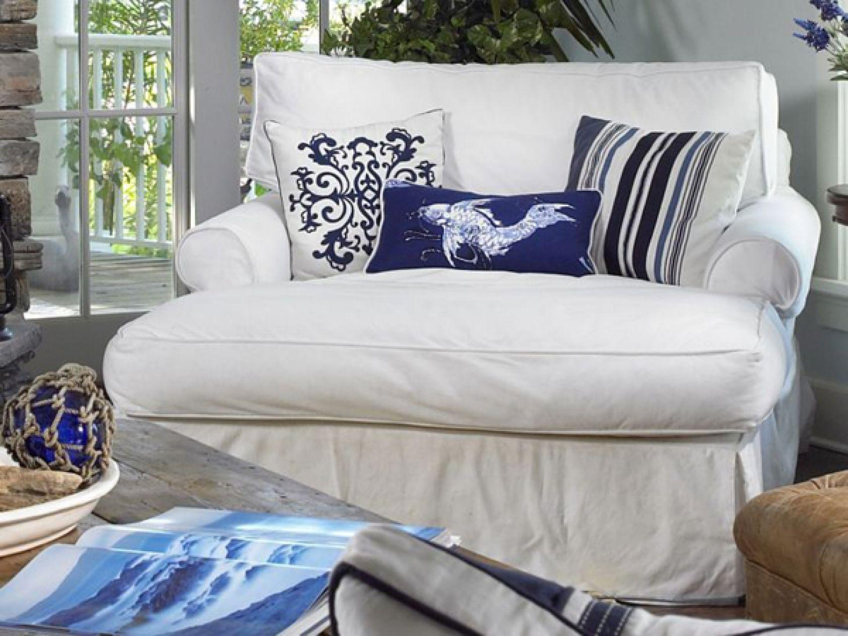 Slipcovered Furniture: Chairs, Sectionals & Sofas In Slipcover Fabrics For Blue Slipcover Sofas (Image 17 of 20)