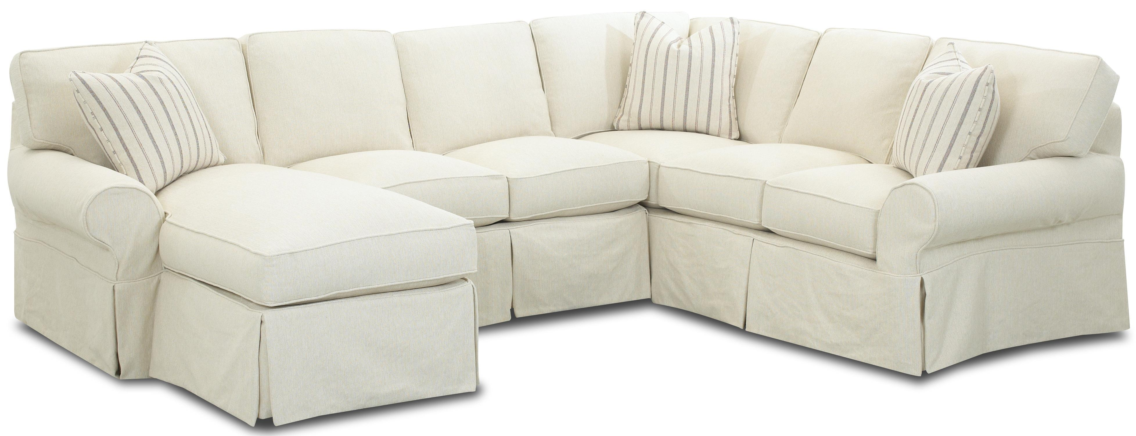 Slipcovered Sectional Sofa With Left Chaiseklaussner | Wolf With Regard To Slipcovered Chaises (Image 17 of 20)