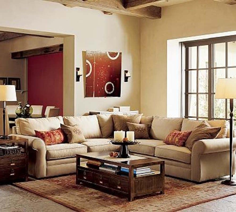 Small Apartment Living Room Ideas Cream Fabric U Shaped Sectional Within Chintz Fabric Sofas (Image 20 of 20)