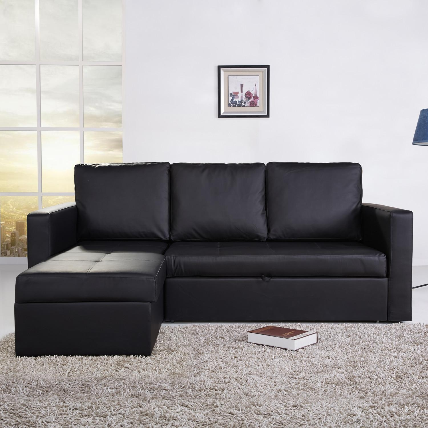 Small Black Leather Sectional Couch With Chaise And Pull Out Bed Throughout Small Black Sofas (Image 13 of 20)